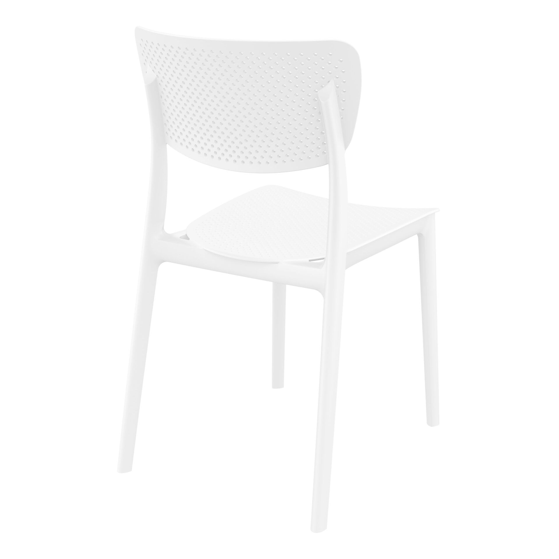 polypropylene hospitality seating lucy chair white back side