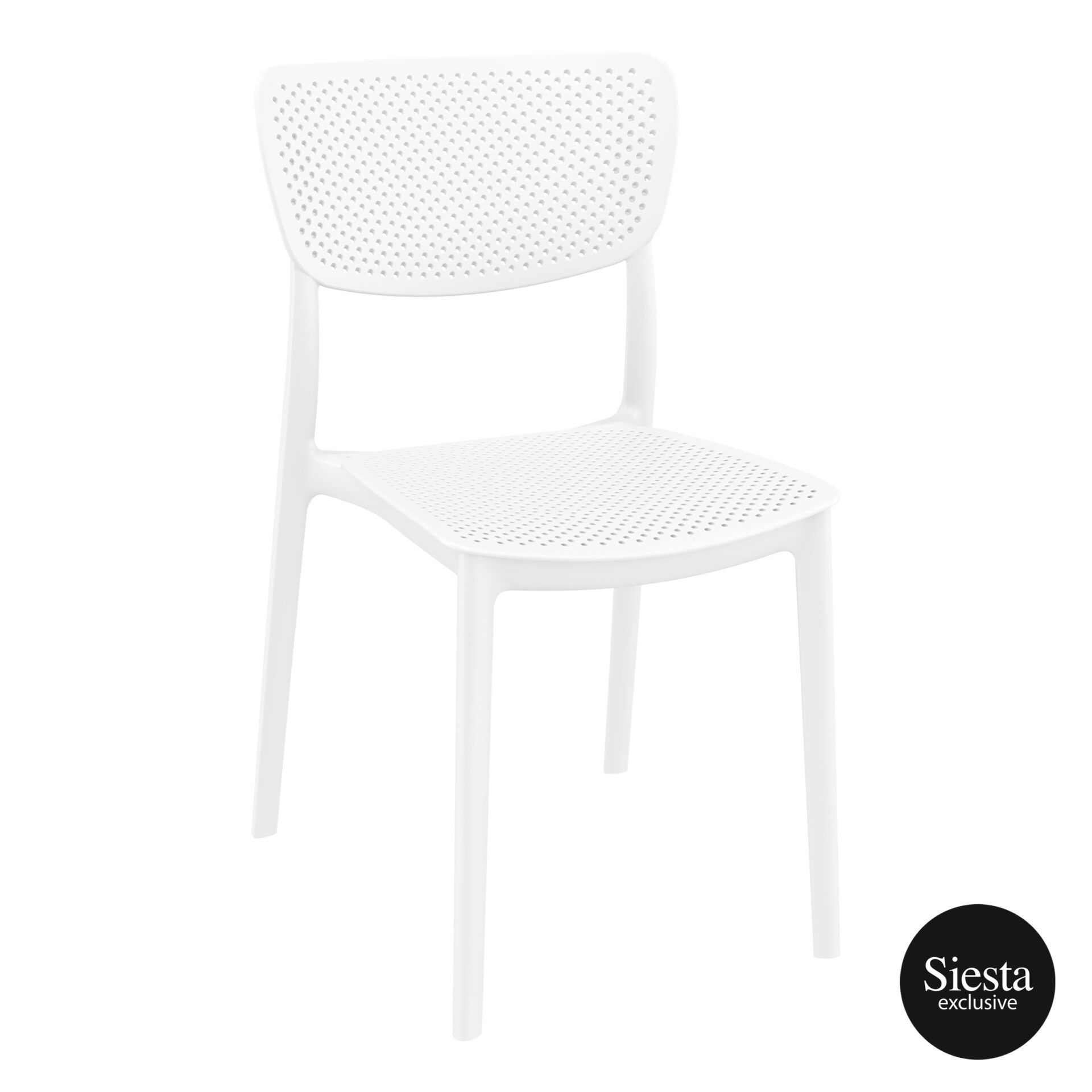 polypropylene hospitality seating lucy chair white front side 1
