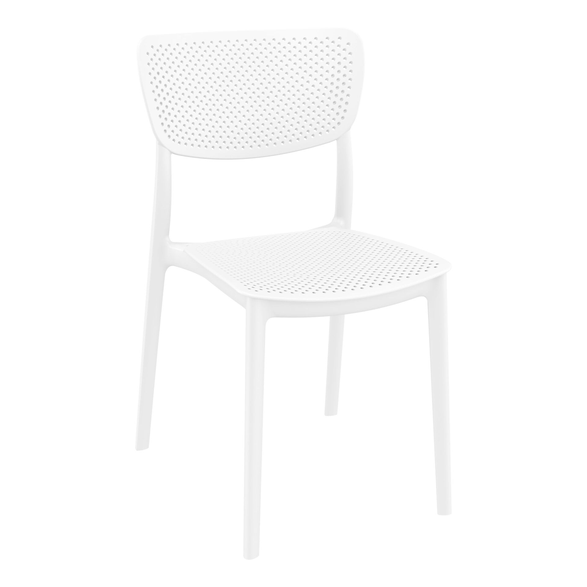 polypropylene hospitality seating lucy chair white front side