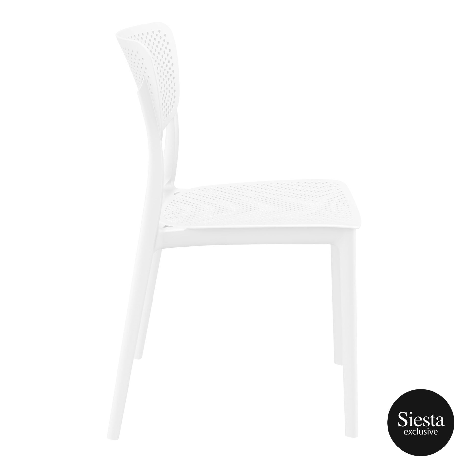polypropylene hospitality seating lucy chair white side 1