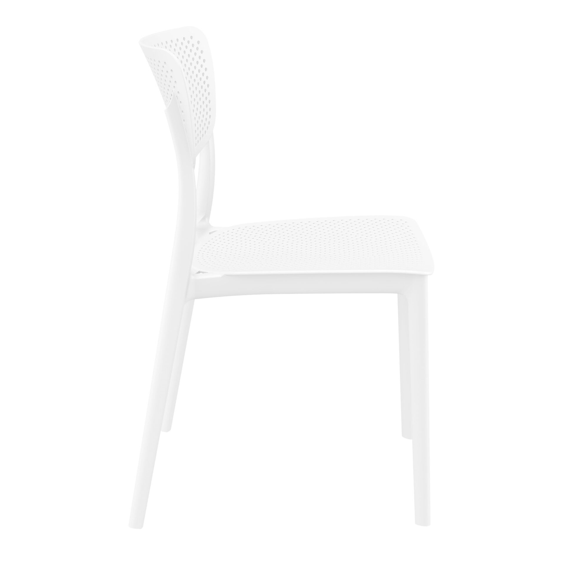 polypropylene hospitality seating lucy chair white side