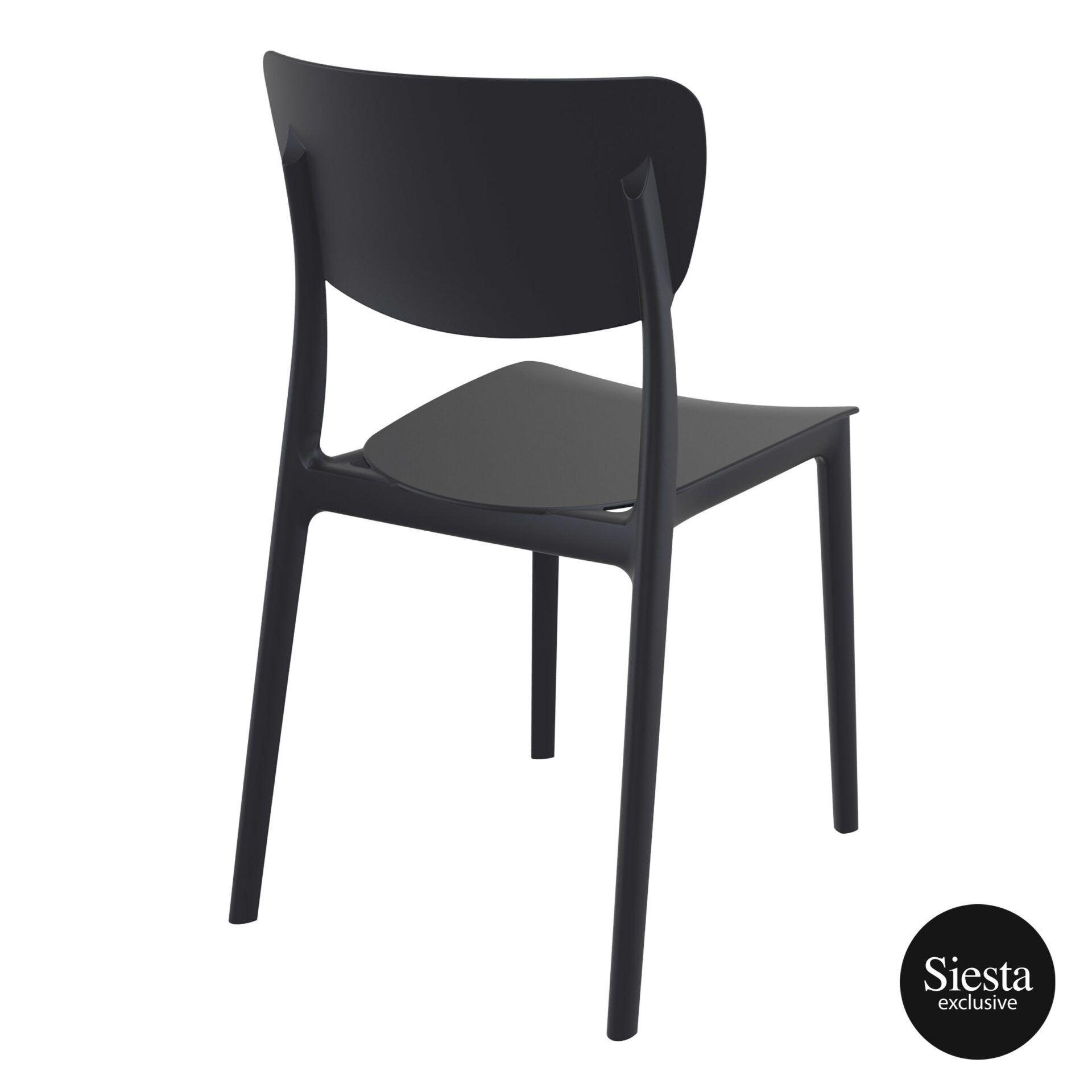 polypropylene outdoor dining monna chair black back side 1