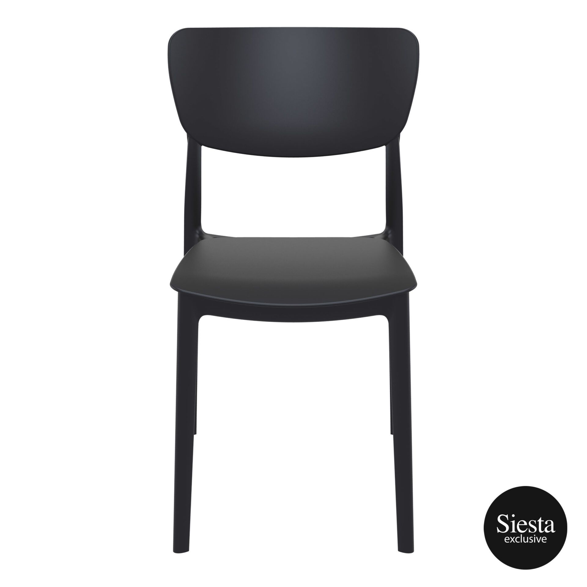 polypropylene outdoor dining monna chair black front 1