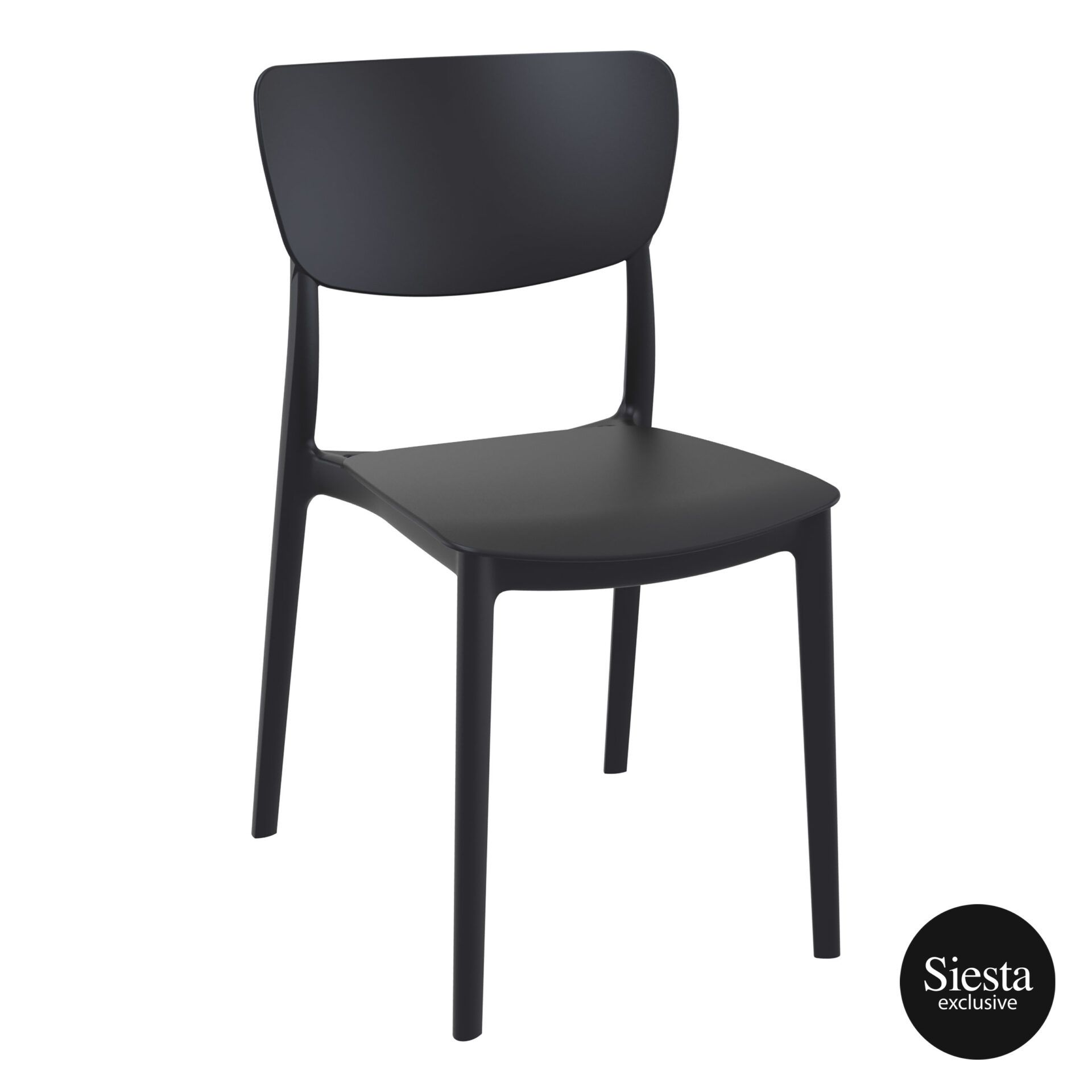 polypropylene outdoor dining monna chair black front side 1