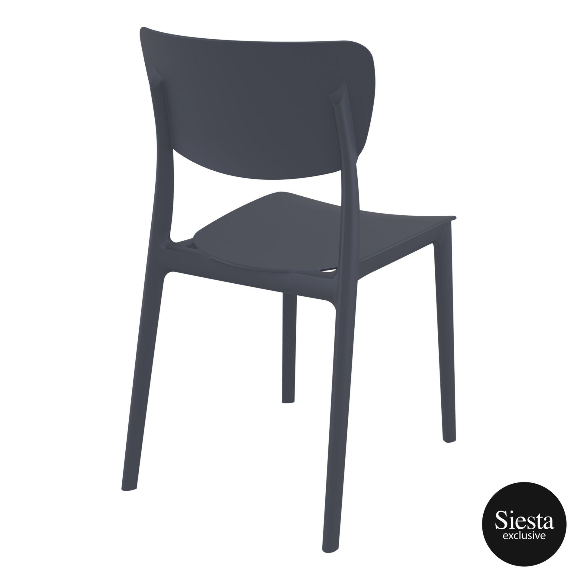 polypropylene outdoor dining monna chair darkgrey back side 2