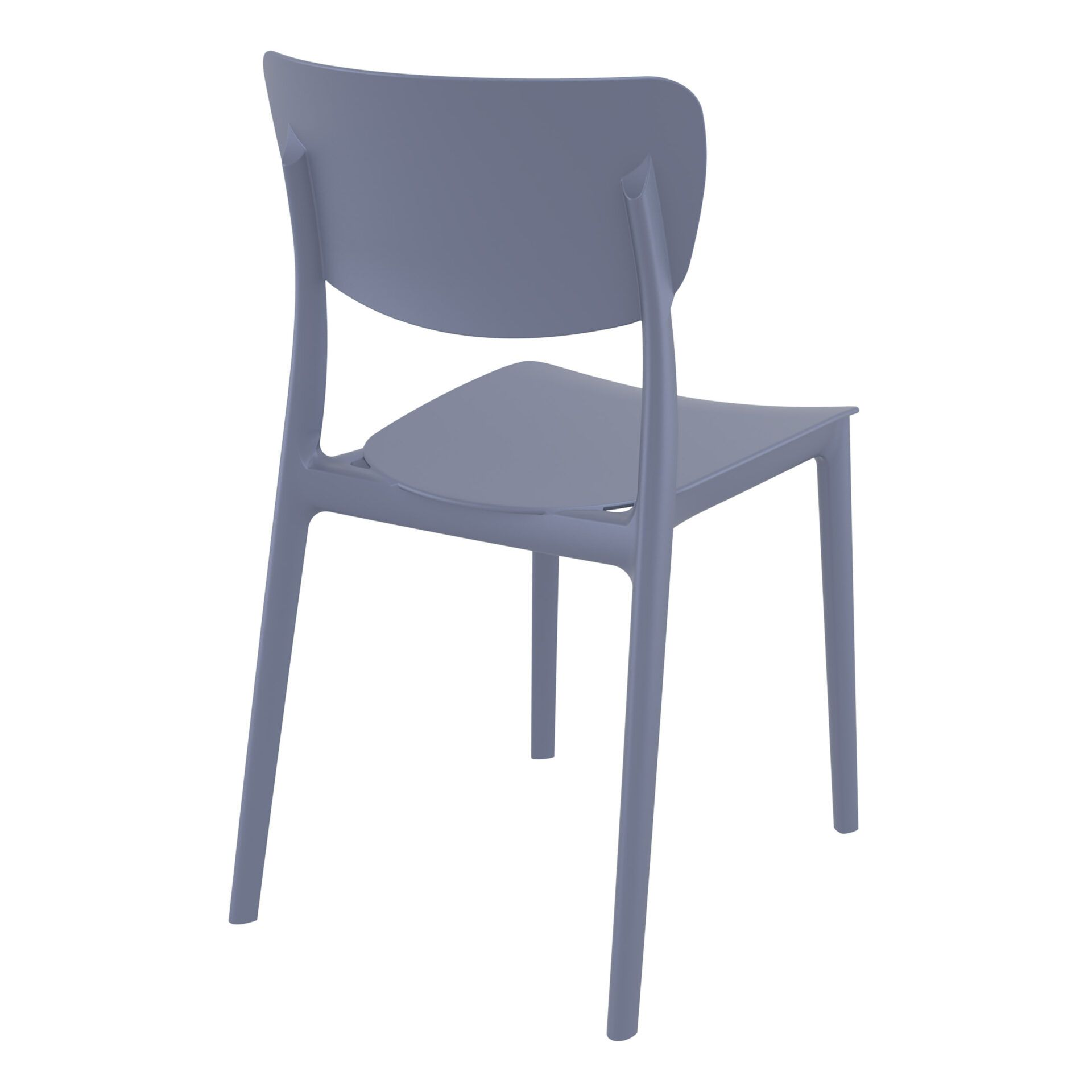 polypropylene outdoor dining monna chair darkgrey back side