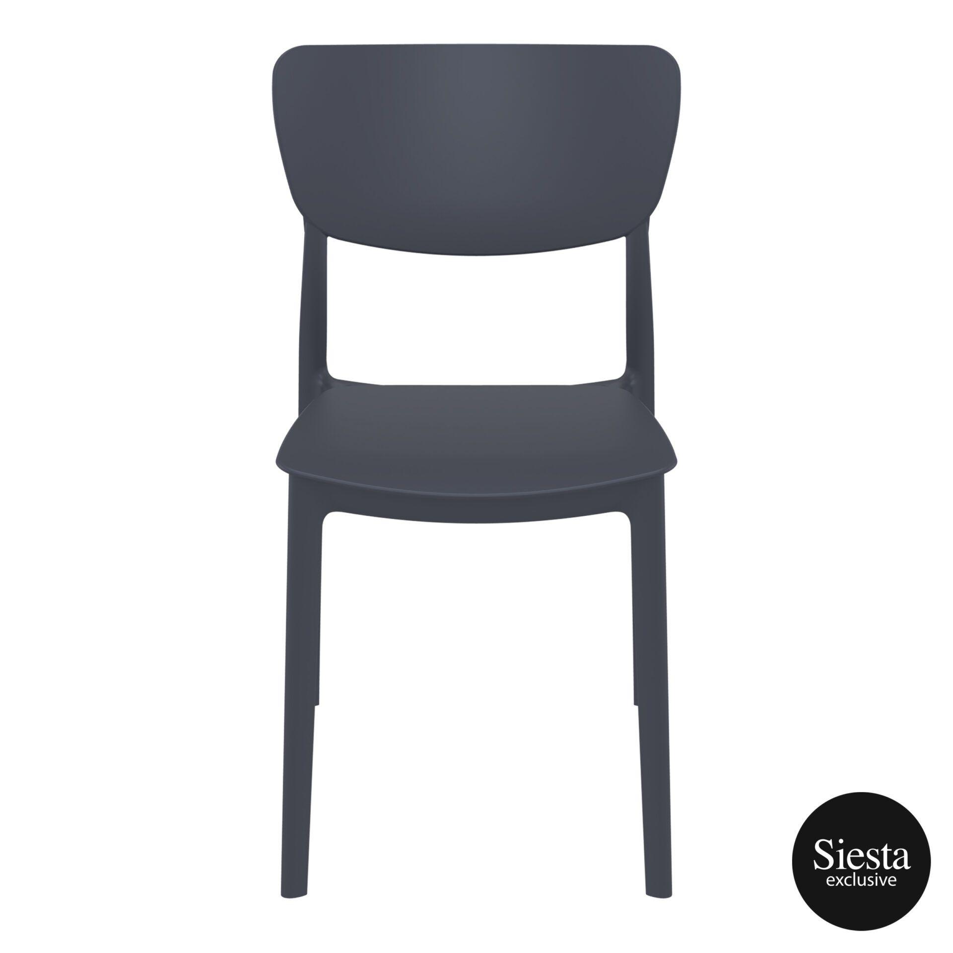 polypropylene outdoor dining monna chair darkgrey front 2