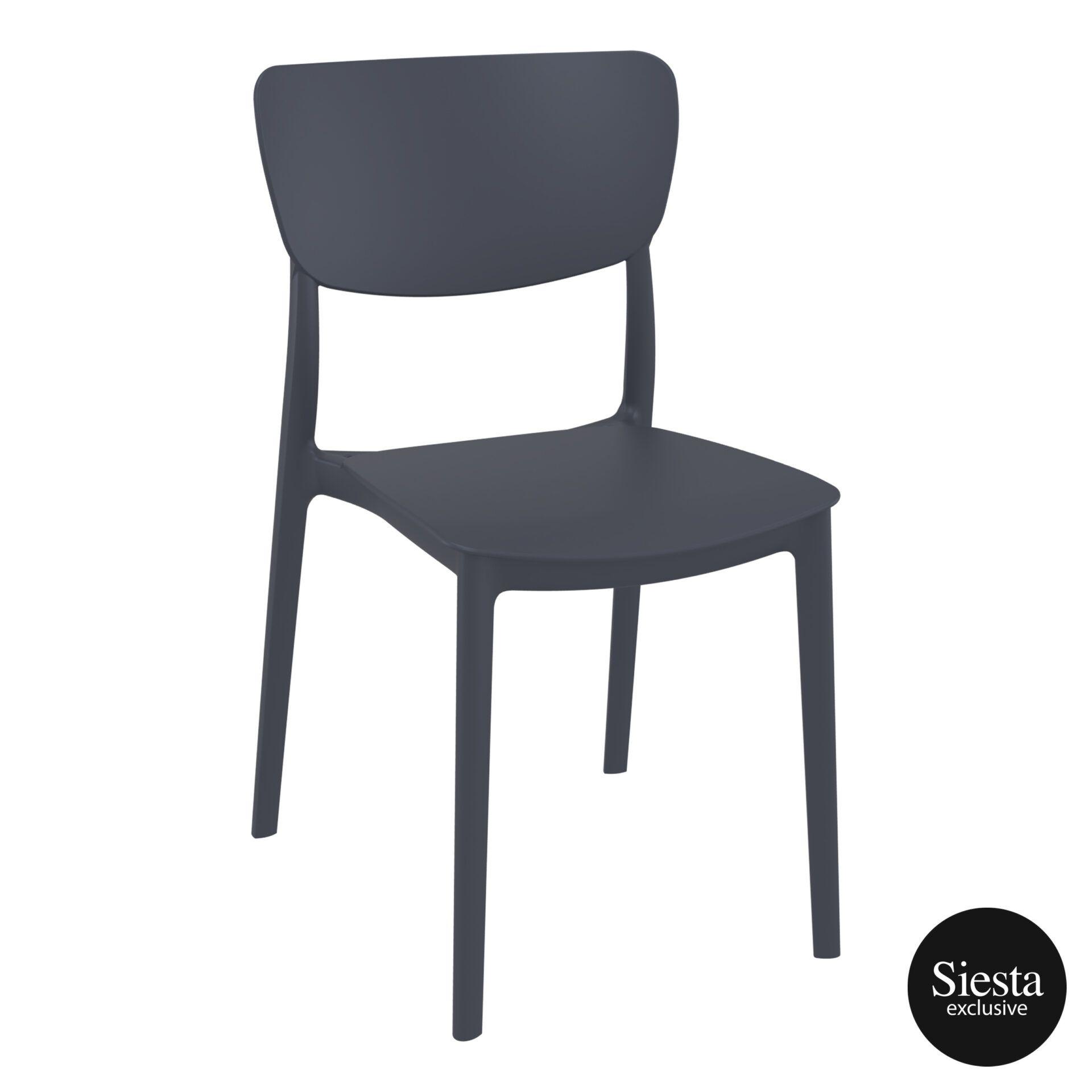polypropylene outdoor dining monna chair darkgrey front side 2