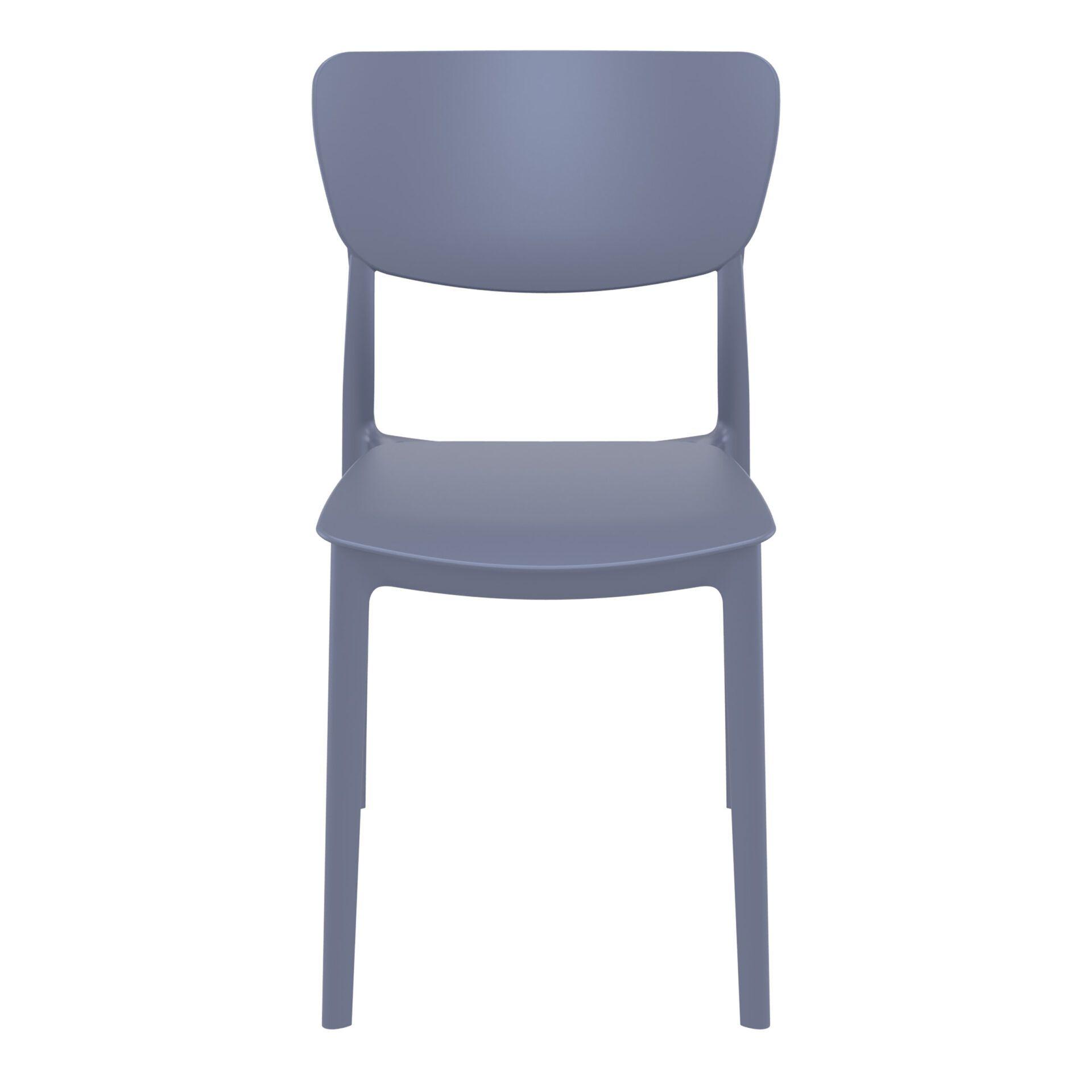 polypropylene outdoor dining monna chair darkgrey front