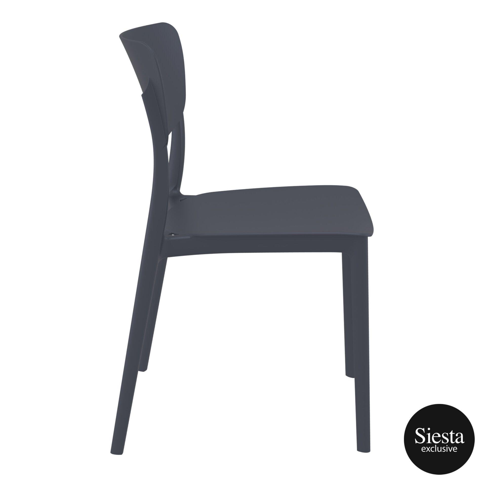 polypropylene outdoor dining monna chair darkgrey side 2