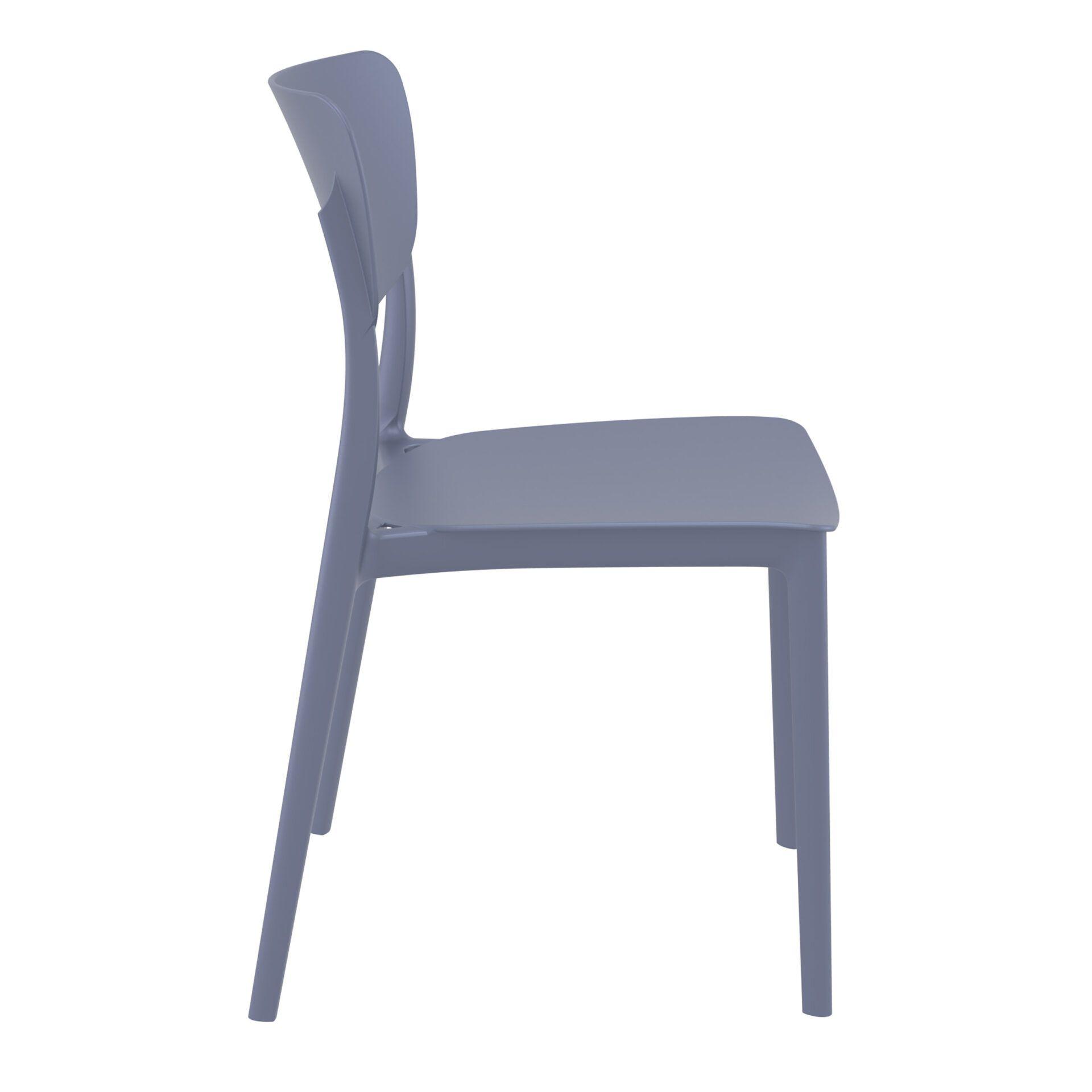 polypropylene outdoor dining monna chair darkgrey side
