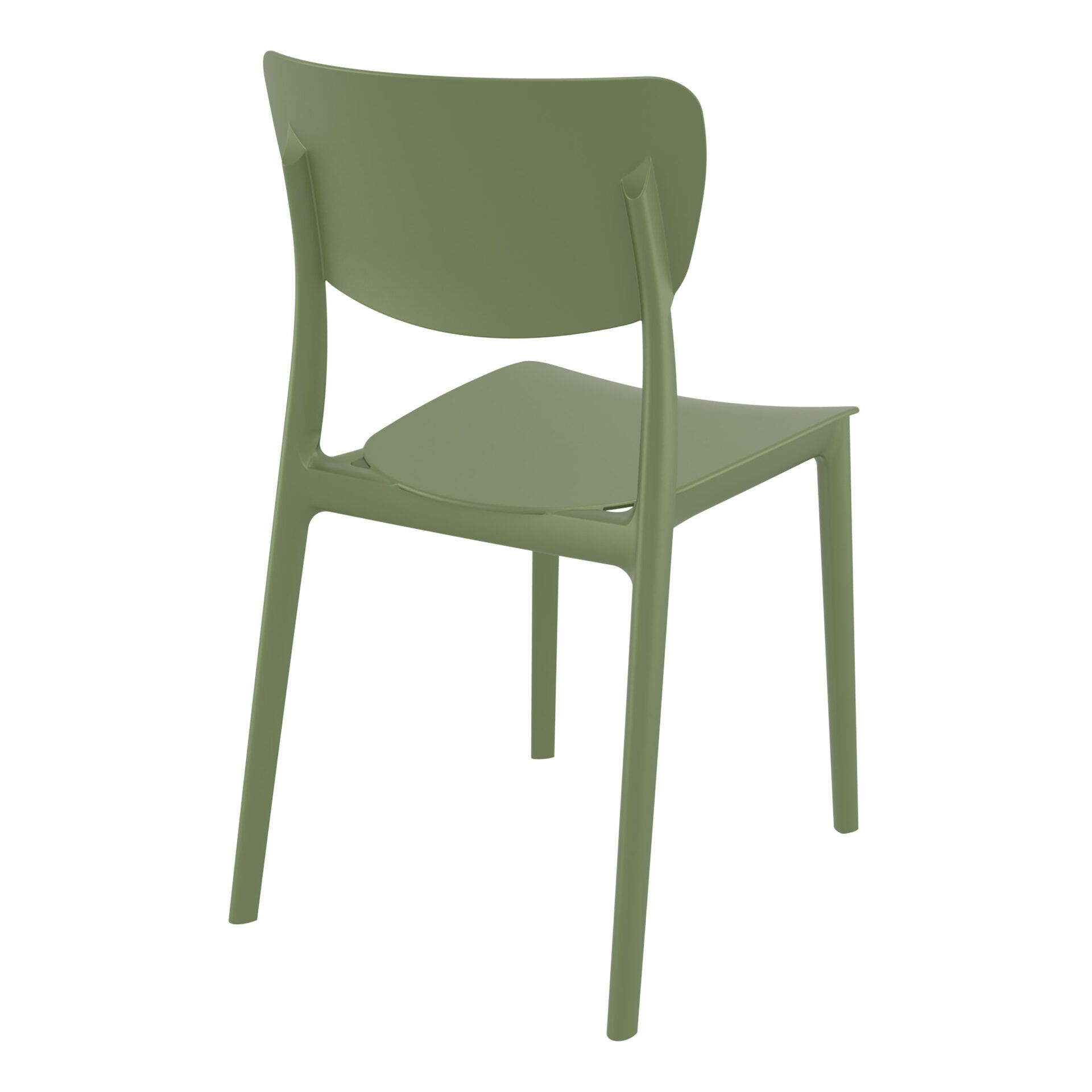 polypropylene outdoor dining monna chair olive green back side