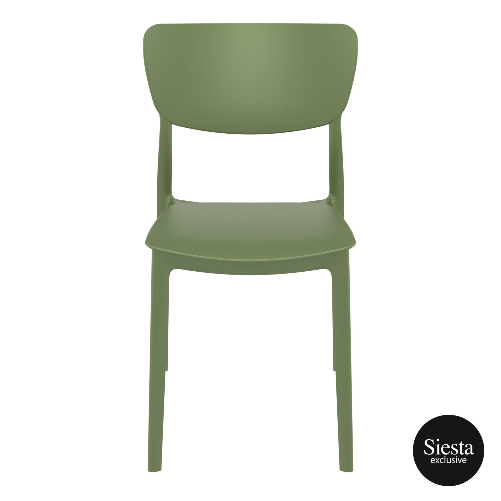 polypropylene outdoor dining monna chair olive green front 1