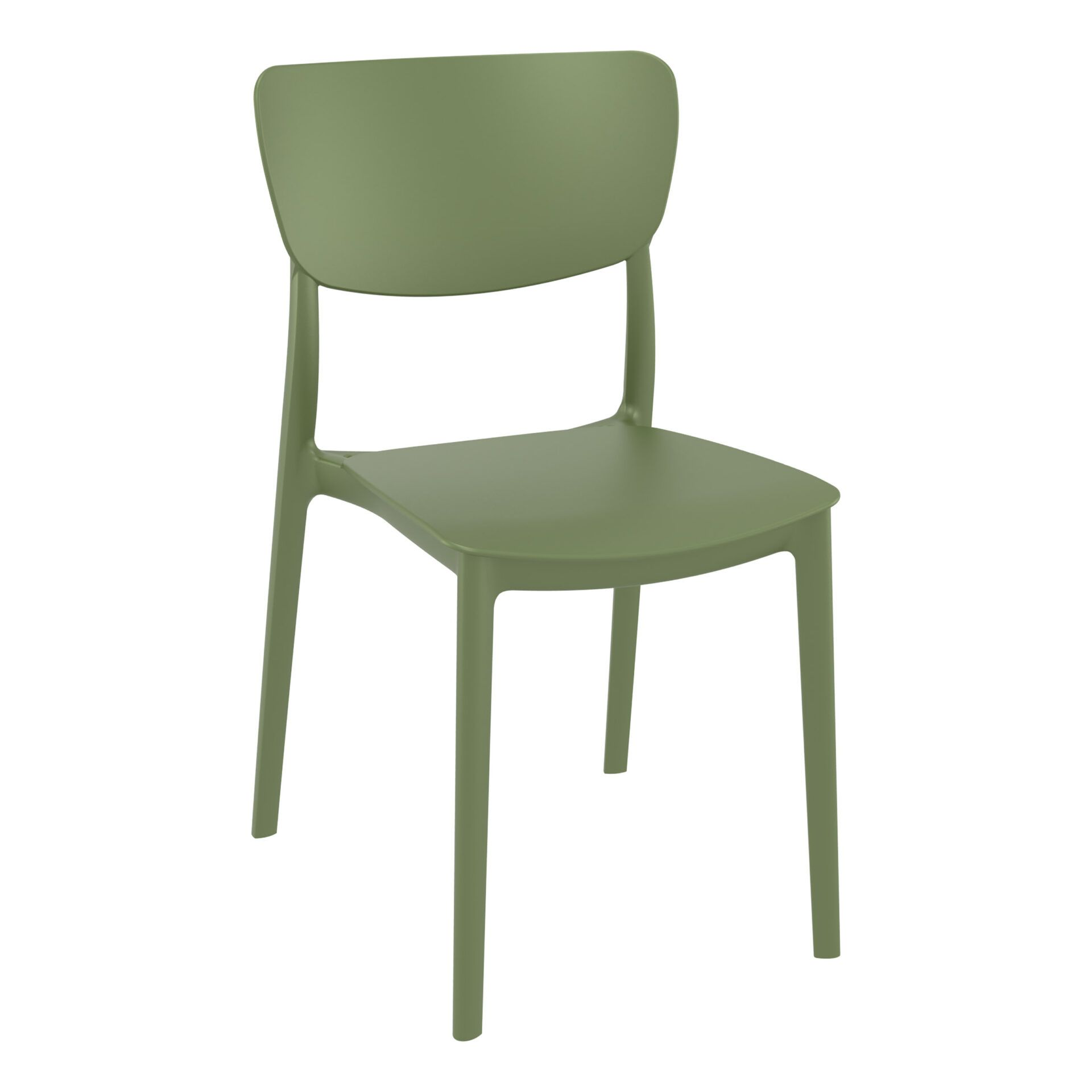 polypropylene outdoor dining monna chair olive green front side