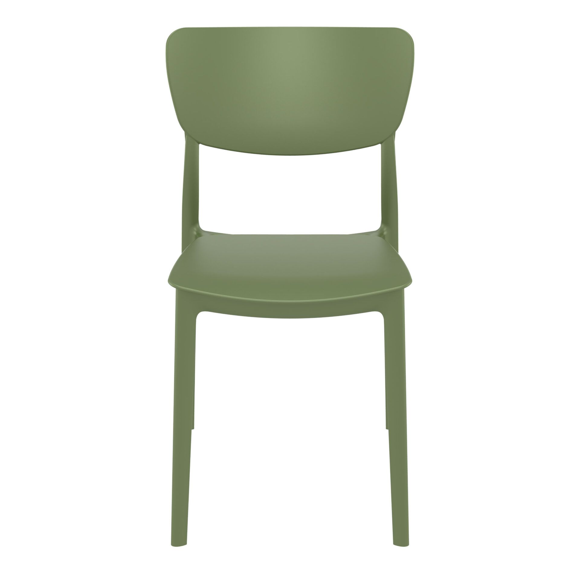 polypropylene outdoor dining monna chair olive green front