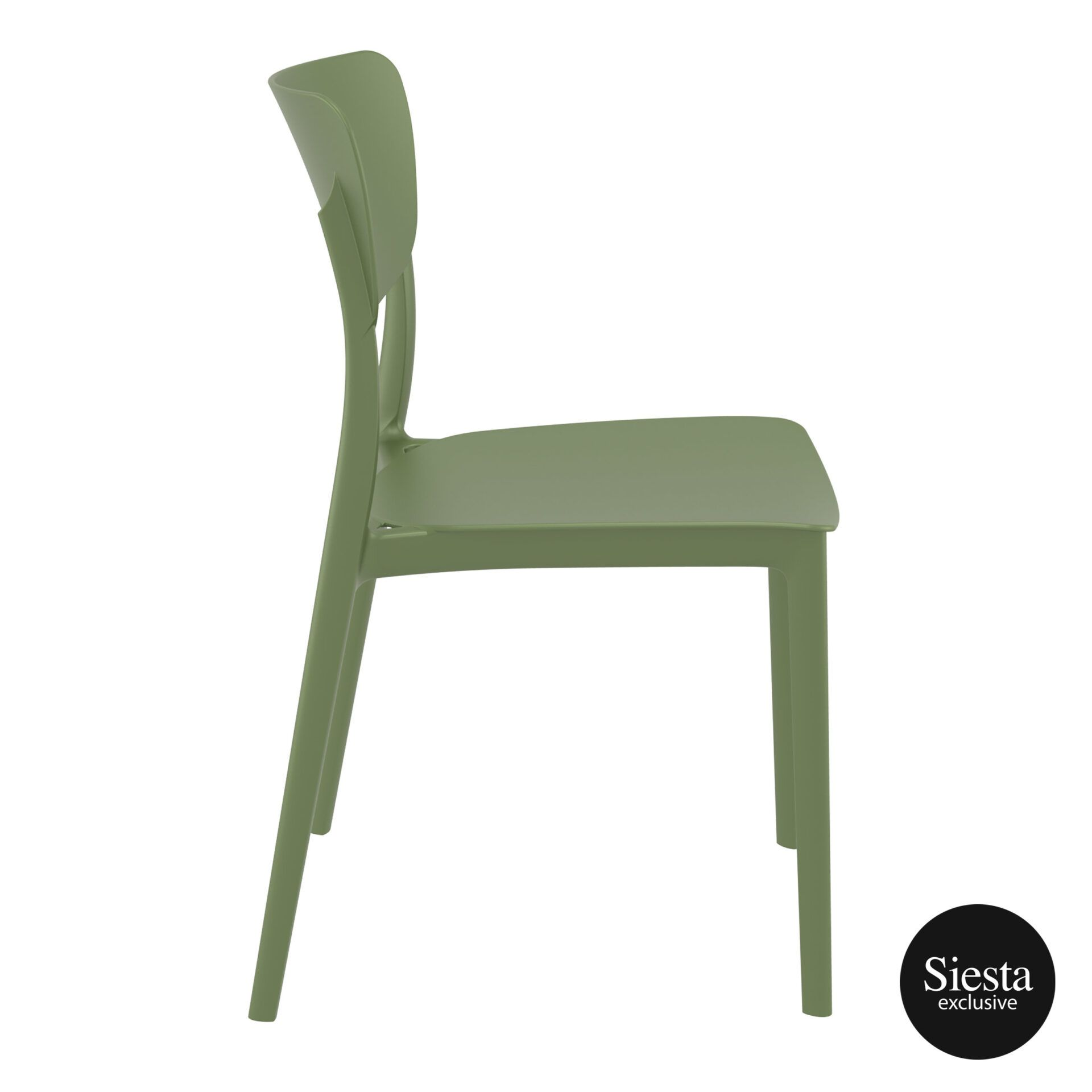 polypropylene outdoor dining monna chair olive green side 1