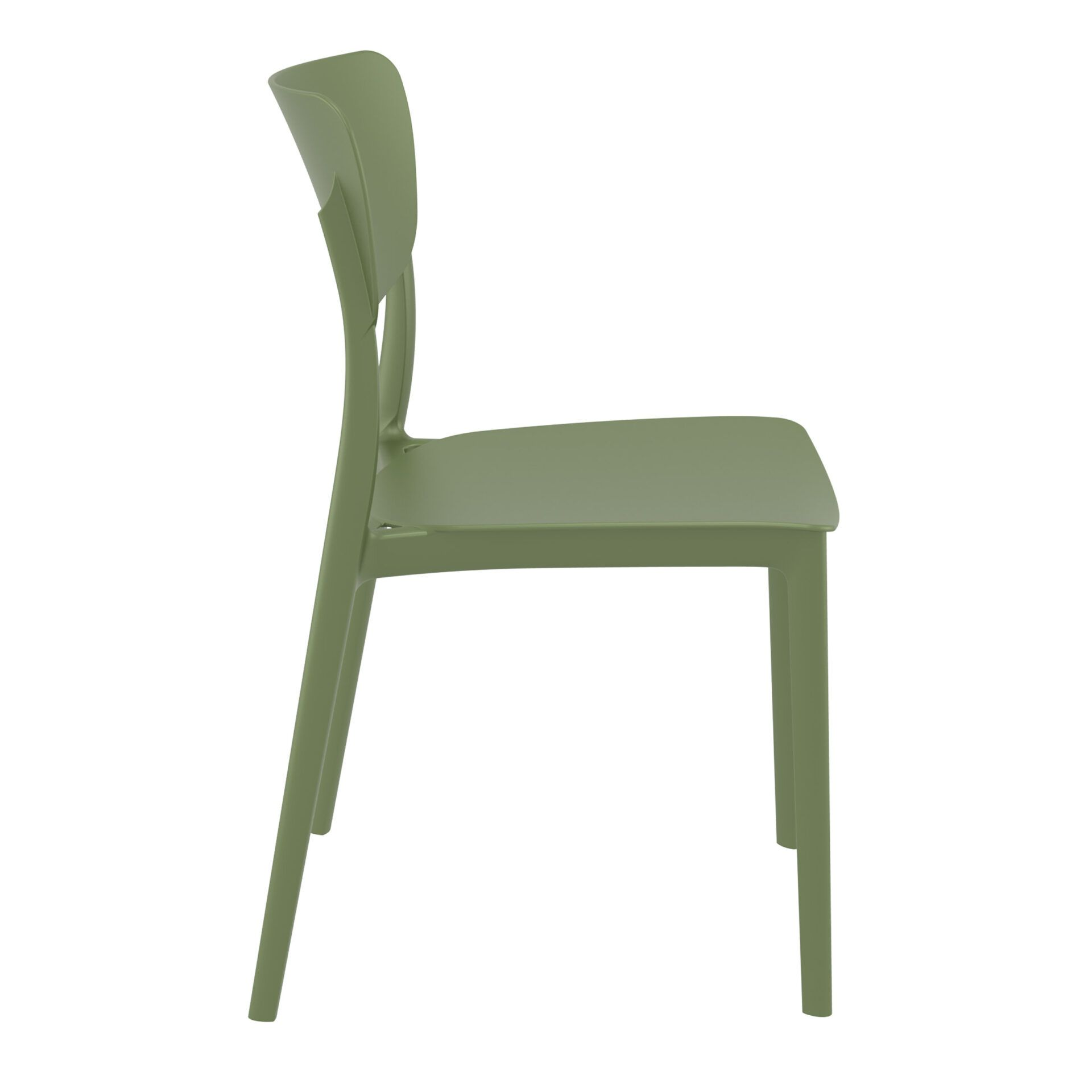 polypropylene outdoor dining monna chair olive green side