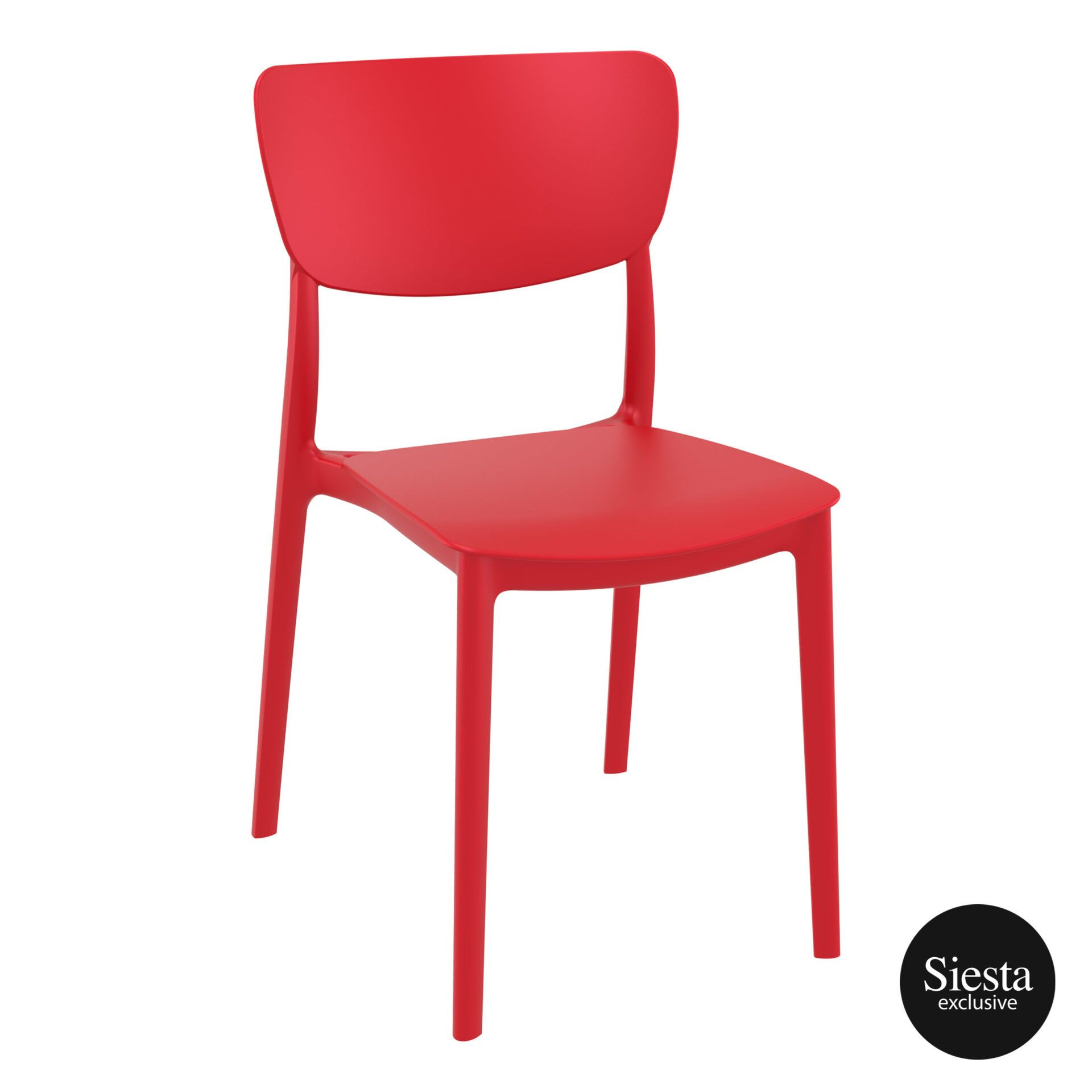 polypropylene outdoor dining monna chair red front side 1