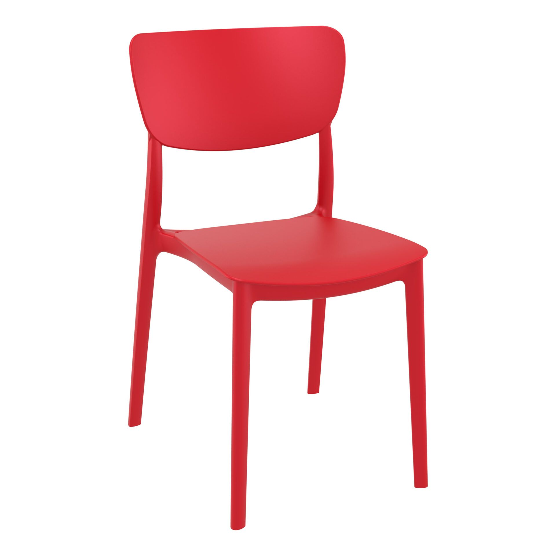 polypropylene outdoor dining monna chair red front side