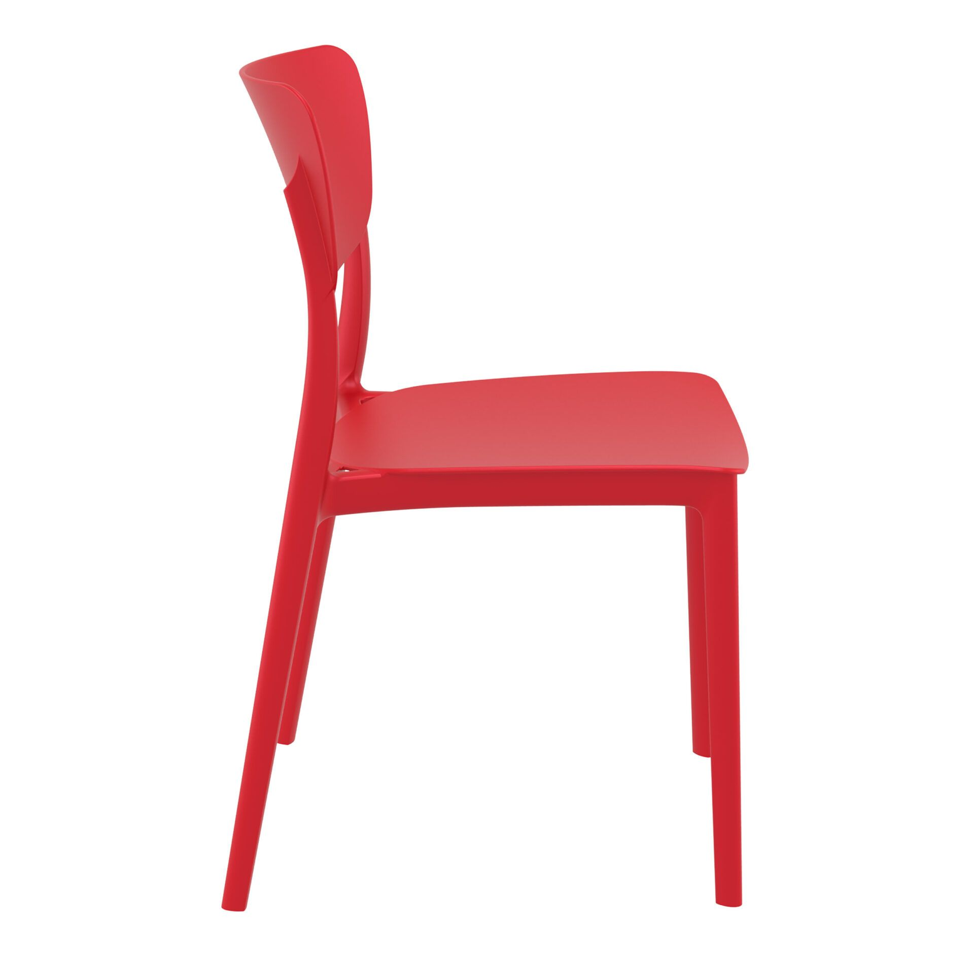 polypropylene outdoor dining monna chair red side