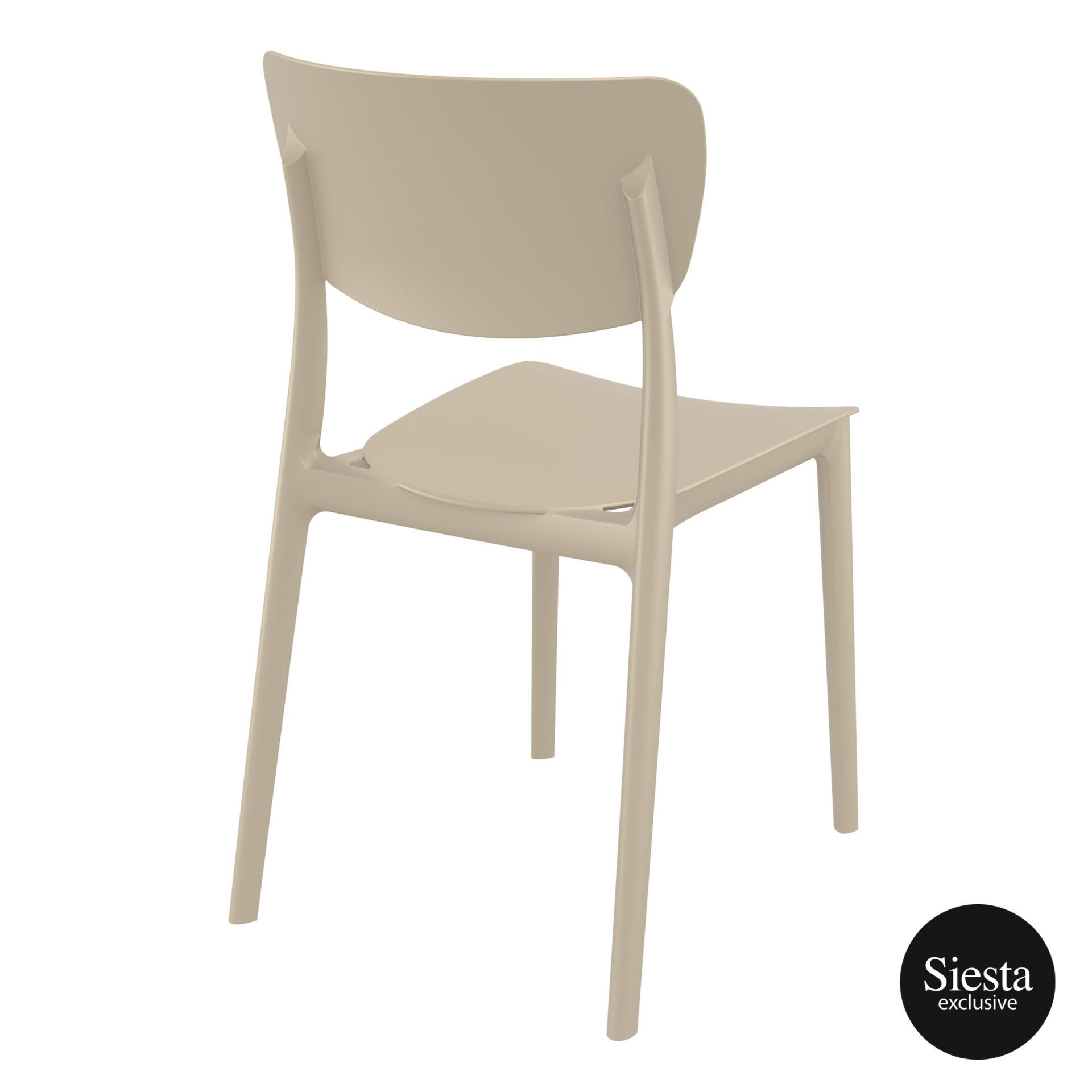 polypropylene outdoor dining monna chair taupe back side 1