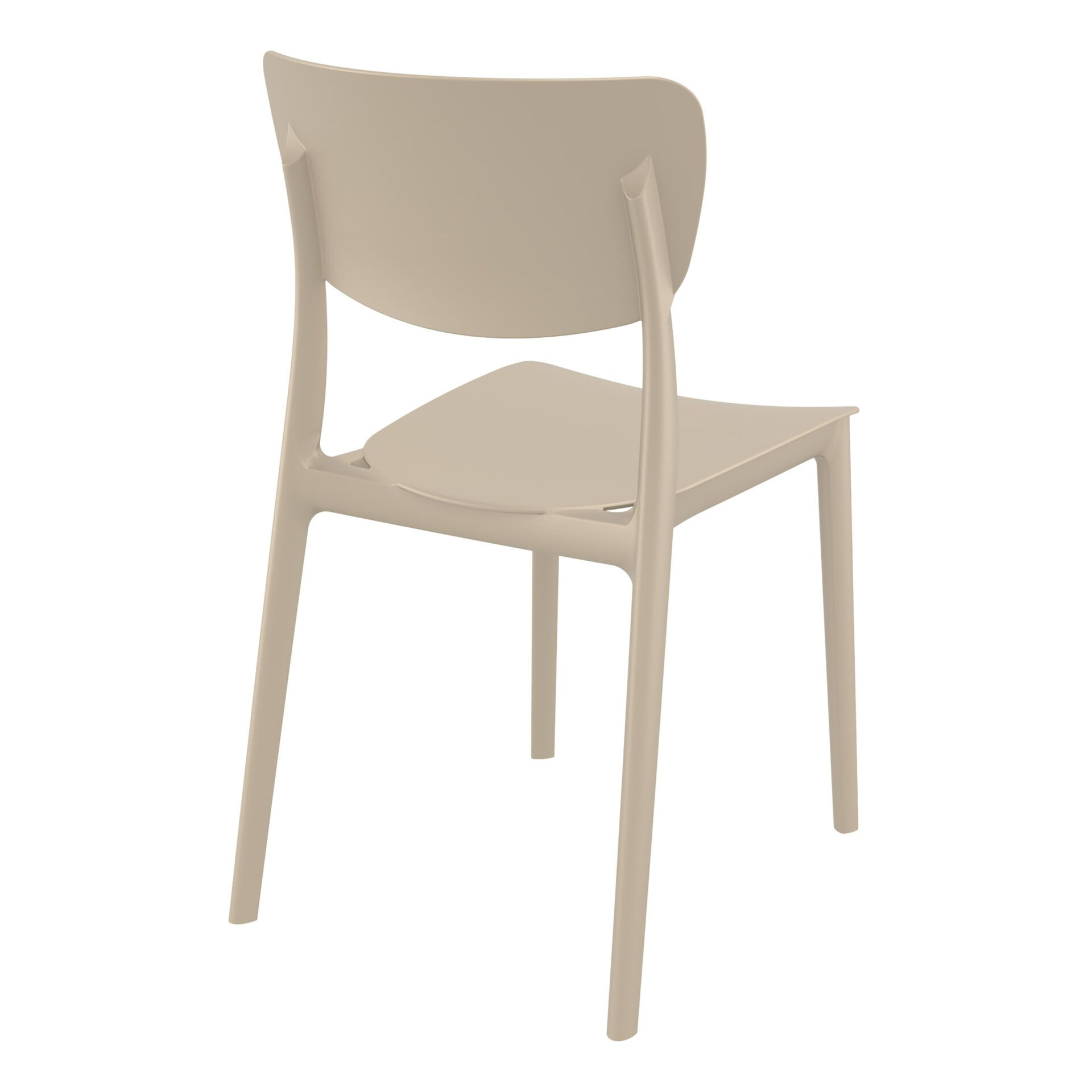 polypropylene outdoor dining monna chair taupe back side