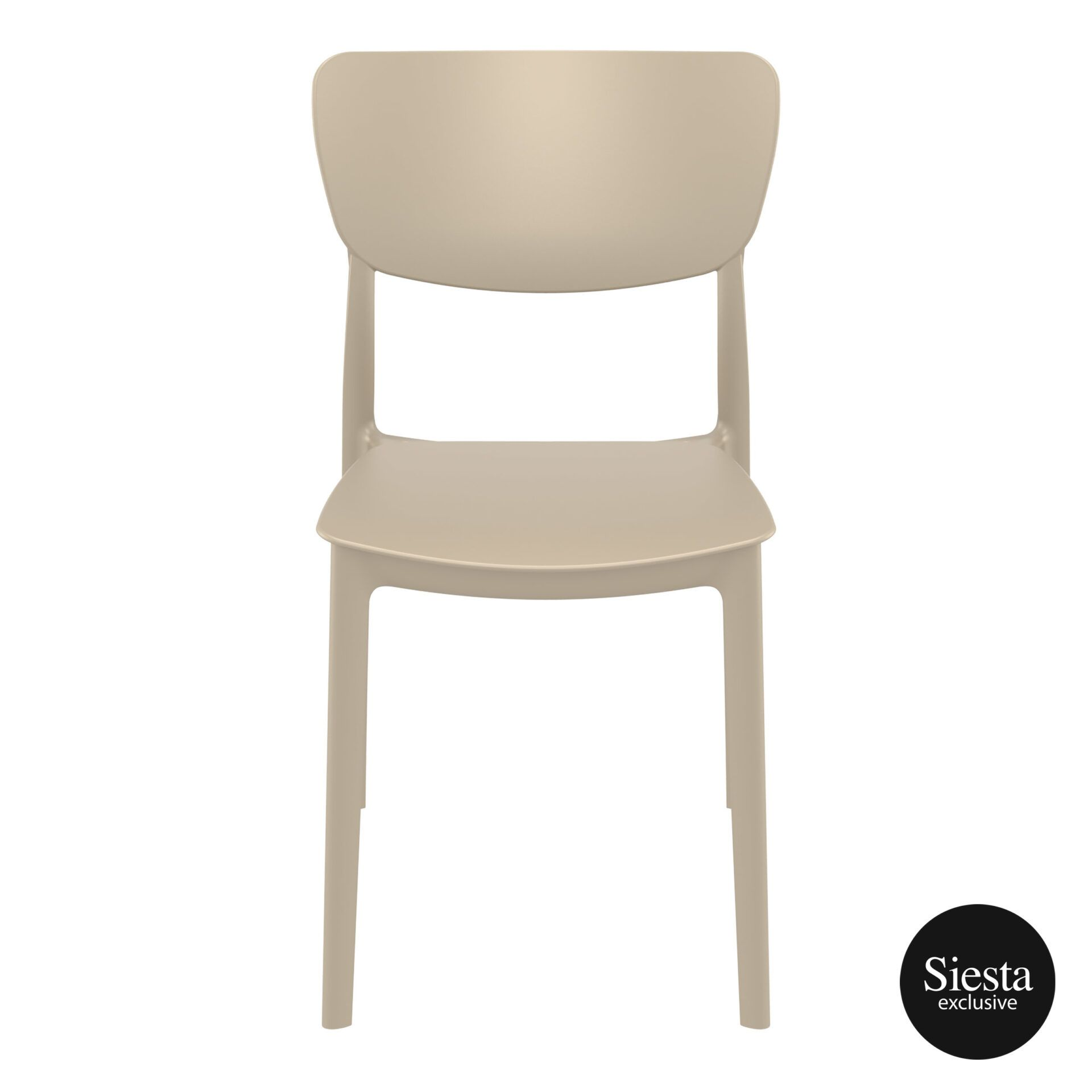 polypropylene outdoor dining monna chair taupe front 1