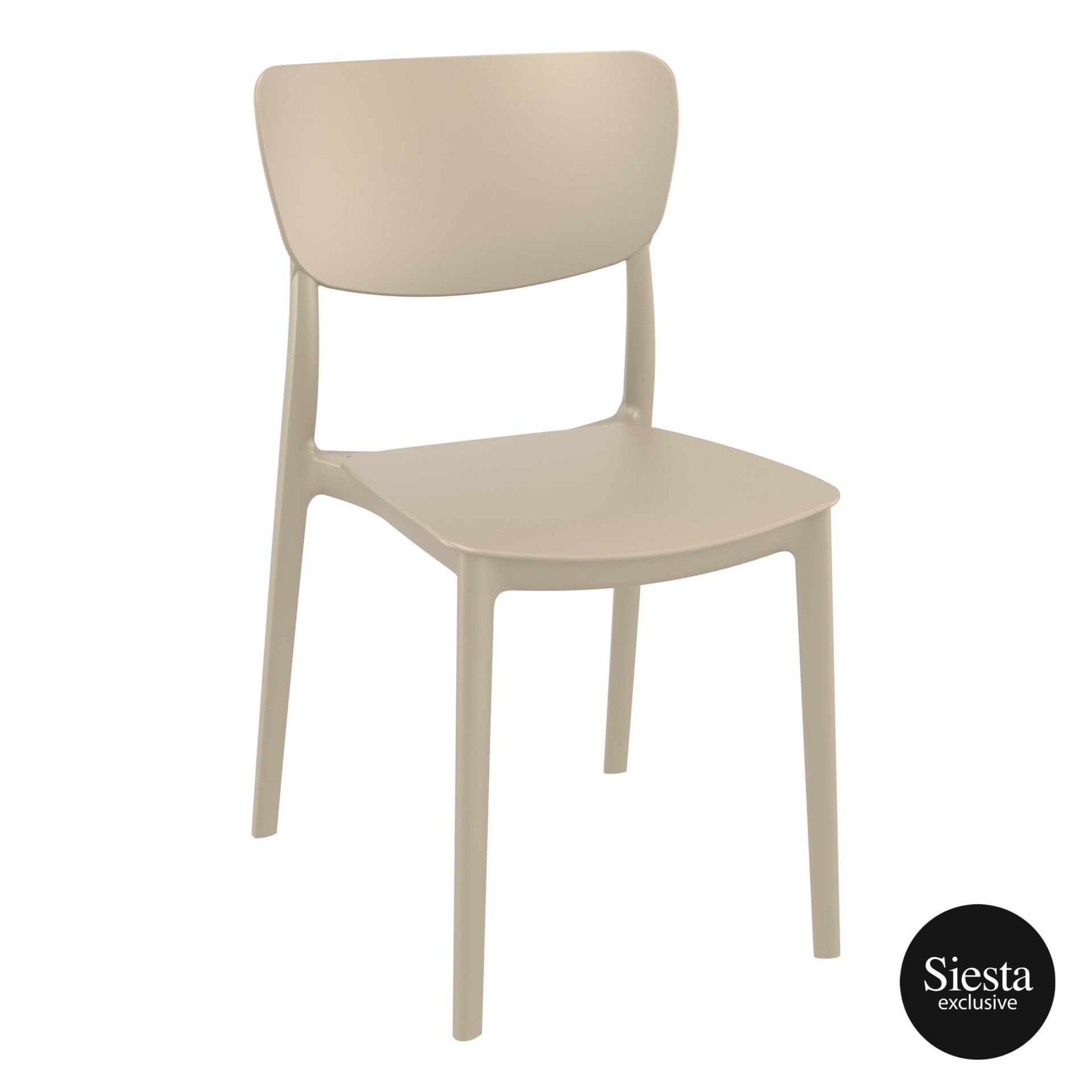 polypropylene outdoor dining monna chair taupe front side 1