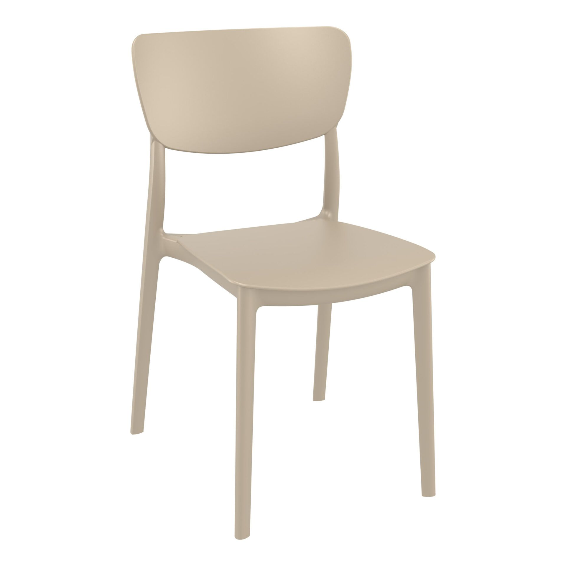 polypropylene outdoor dining monna chair taupe front side