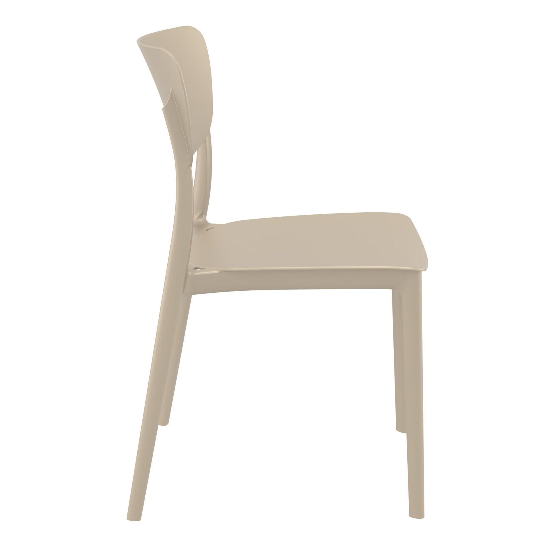 polypropylene outdoor dining monna chair taupe side