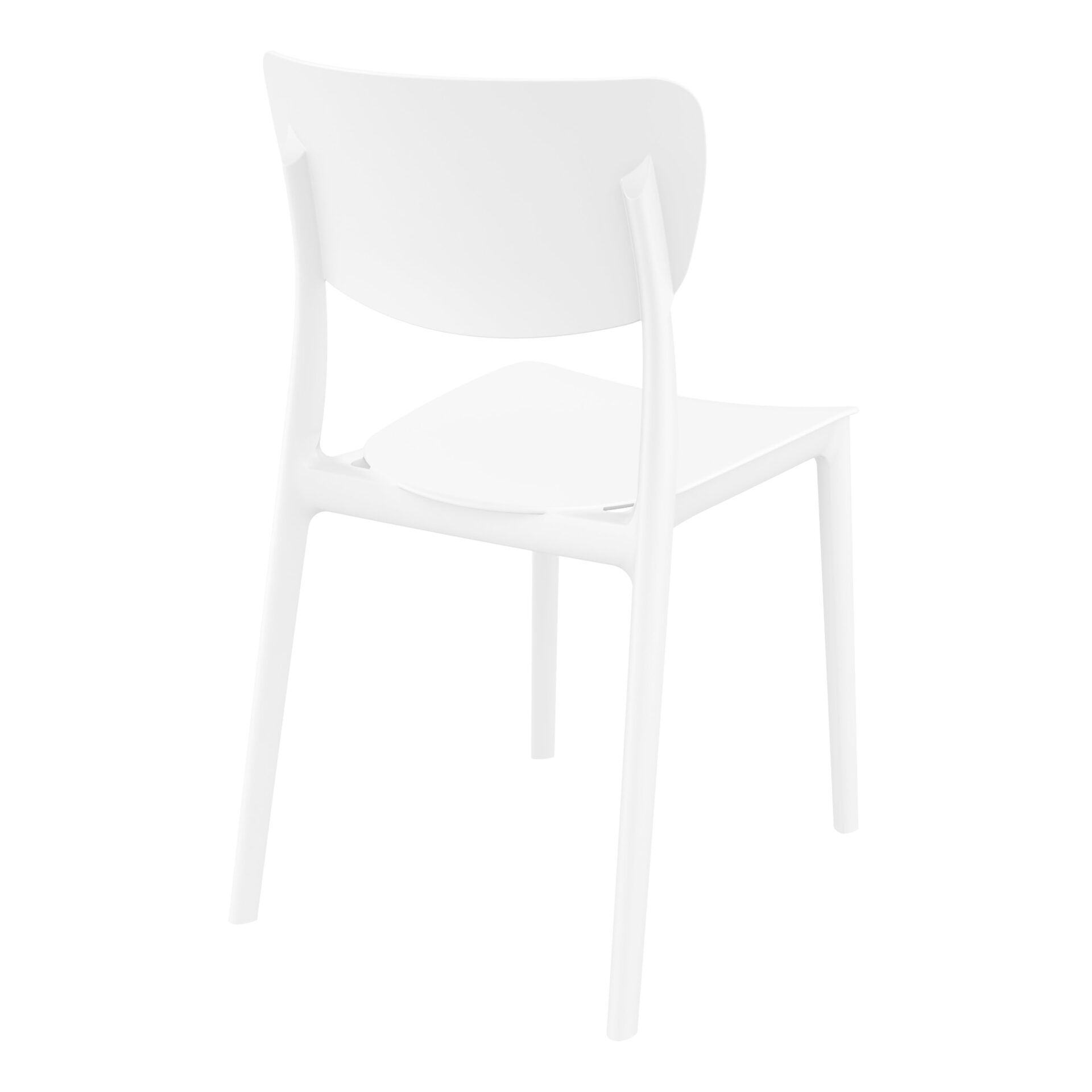 polypropylene outdoor dining monna chair white back side