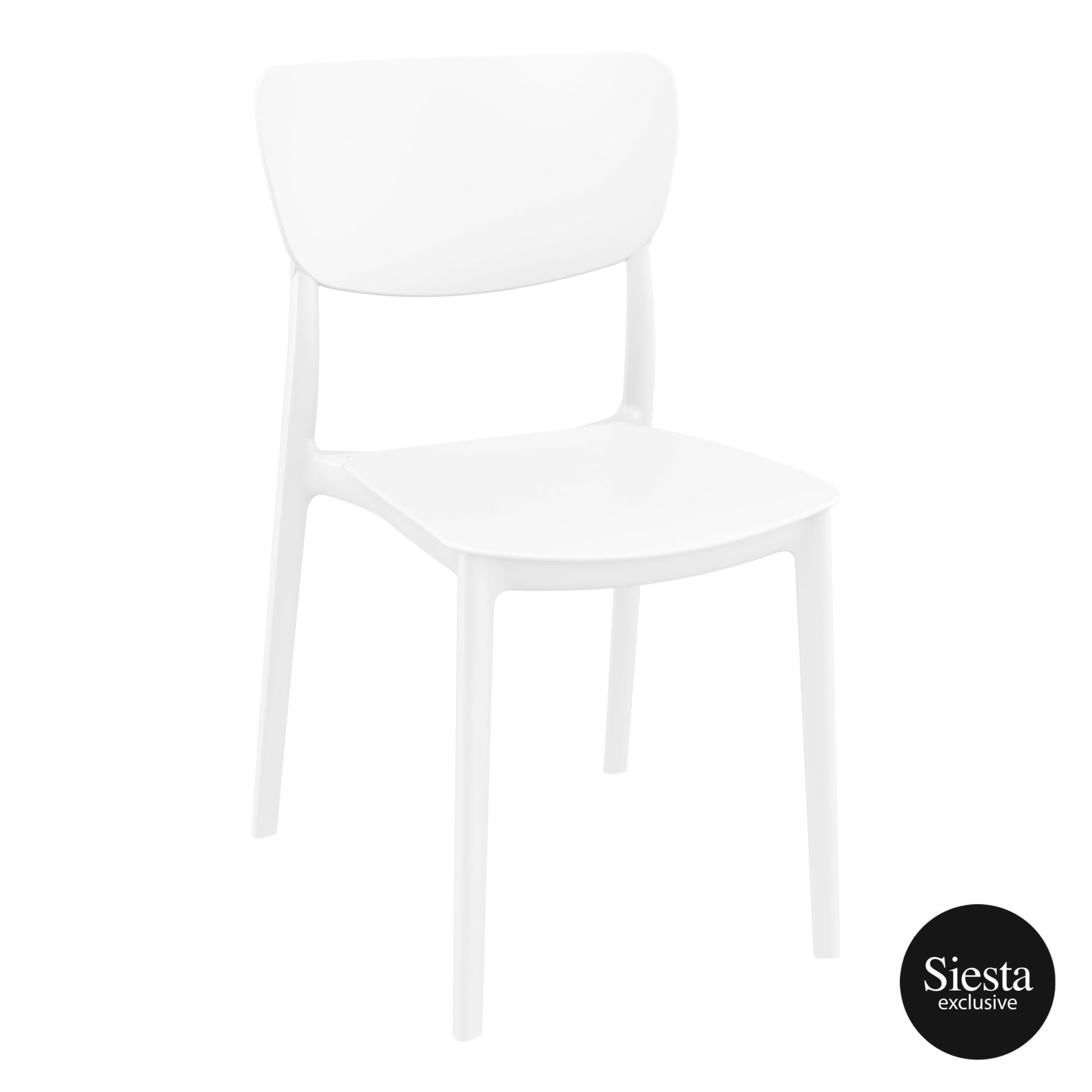 polypropylene outdoor dining monna chair white front side 1