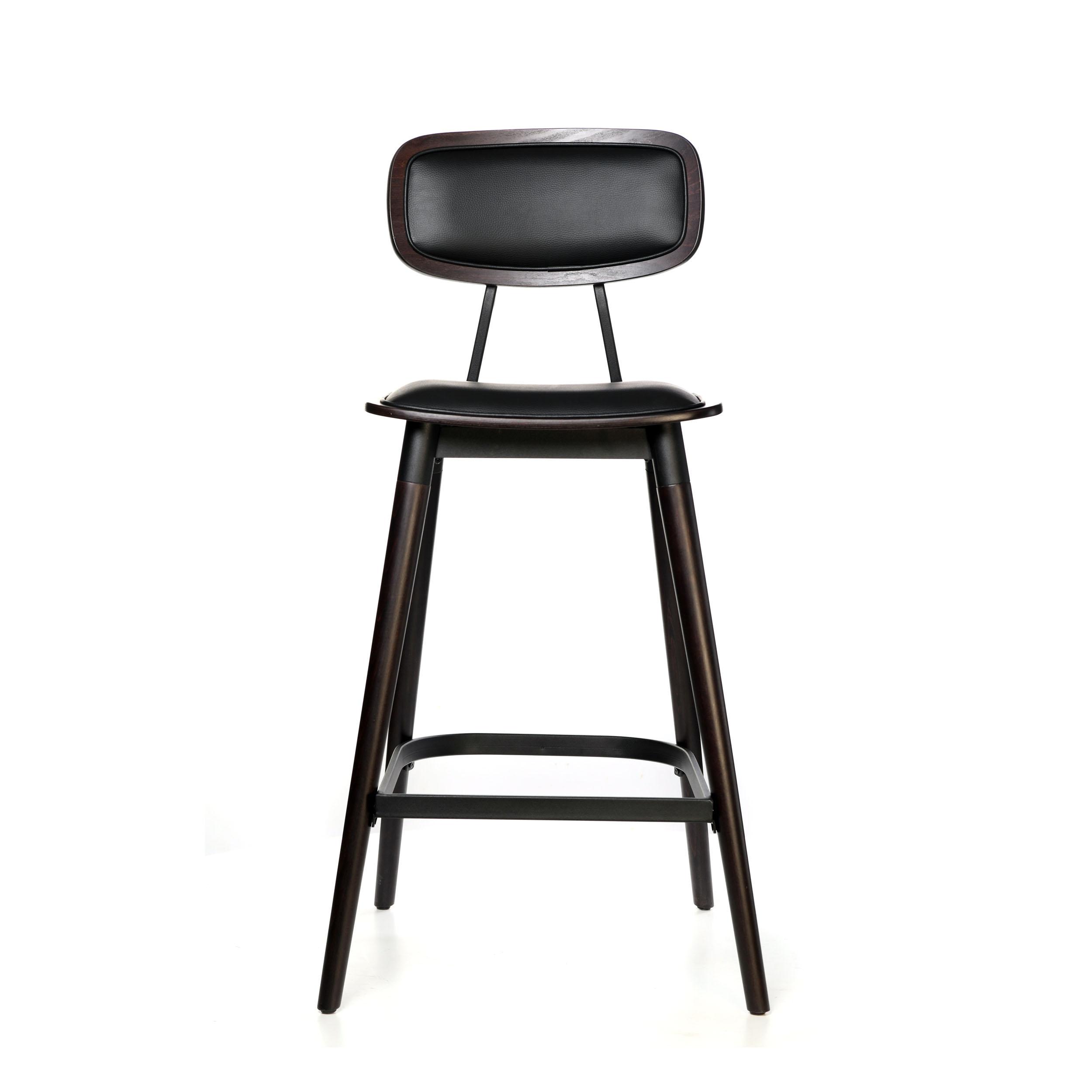 felix barstool – black vinyl seat – chocolate – black frame a1 1