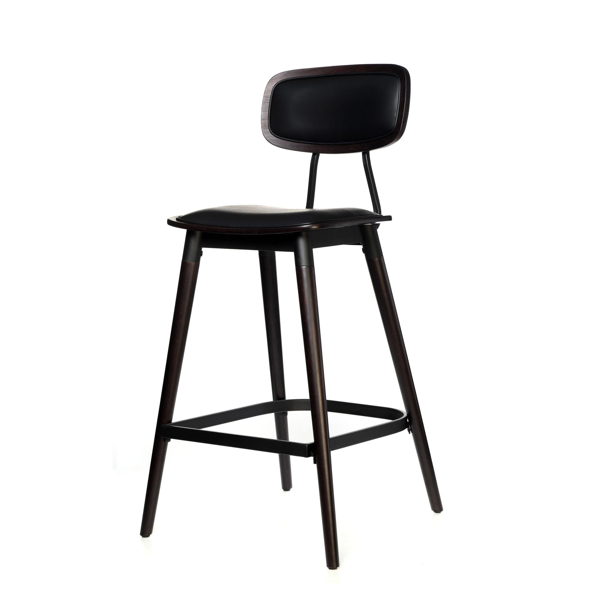 felix barstool – black vinyl seat – chocolate – black frame a2