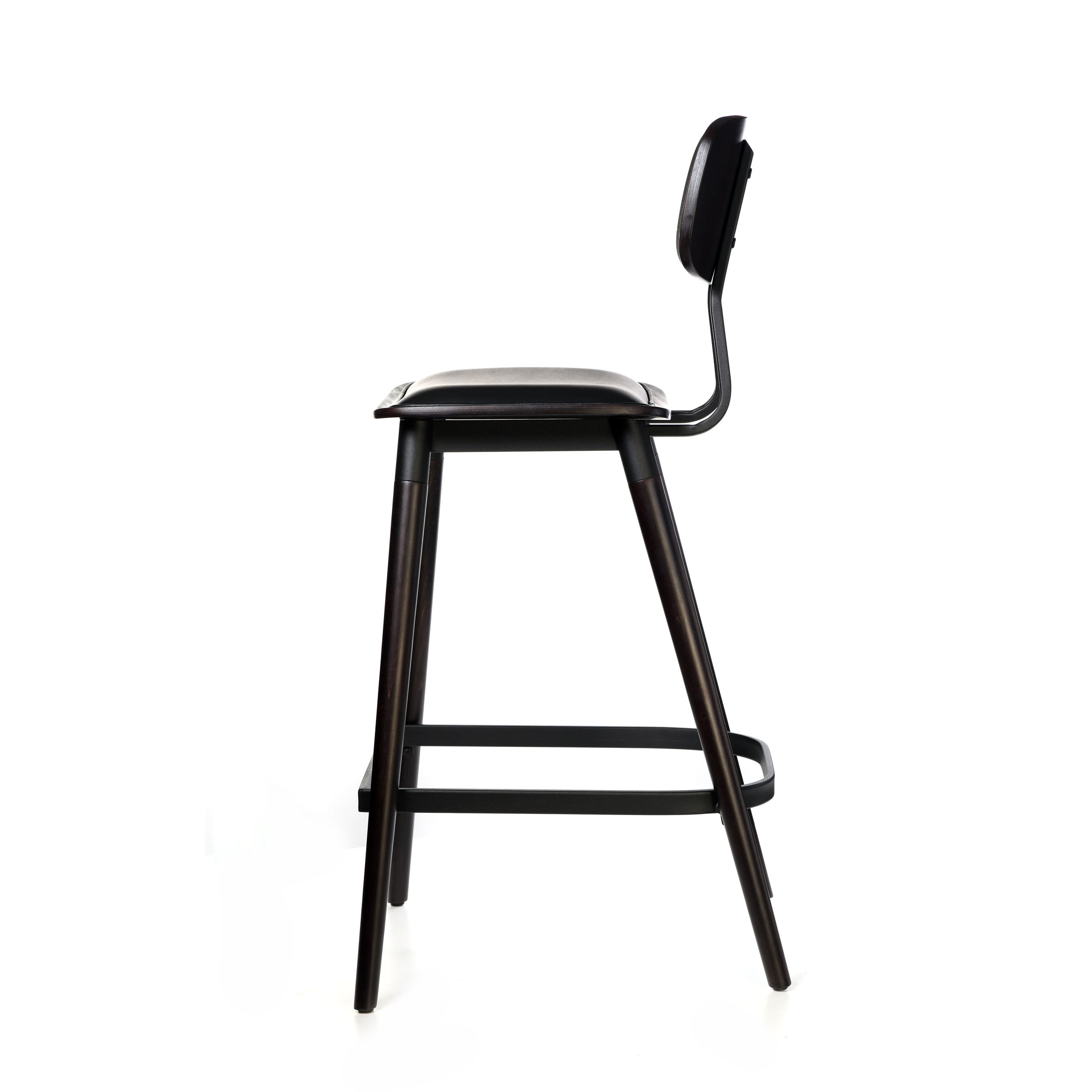 felix barstool – black vinyl seat – chocolate – black frame a3