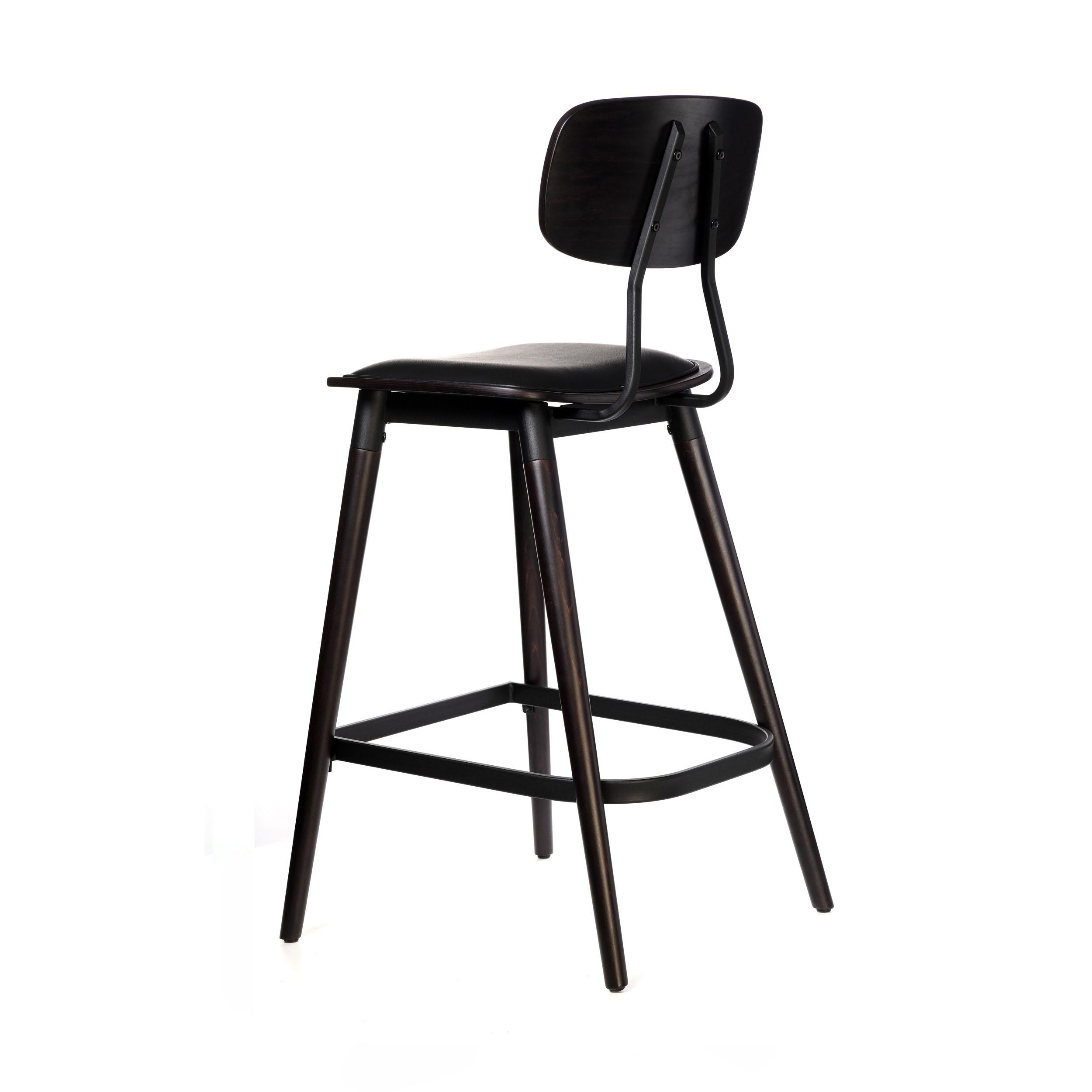 felix barstool – black vinyl seat – chocolate – black frame a4