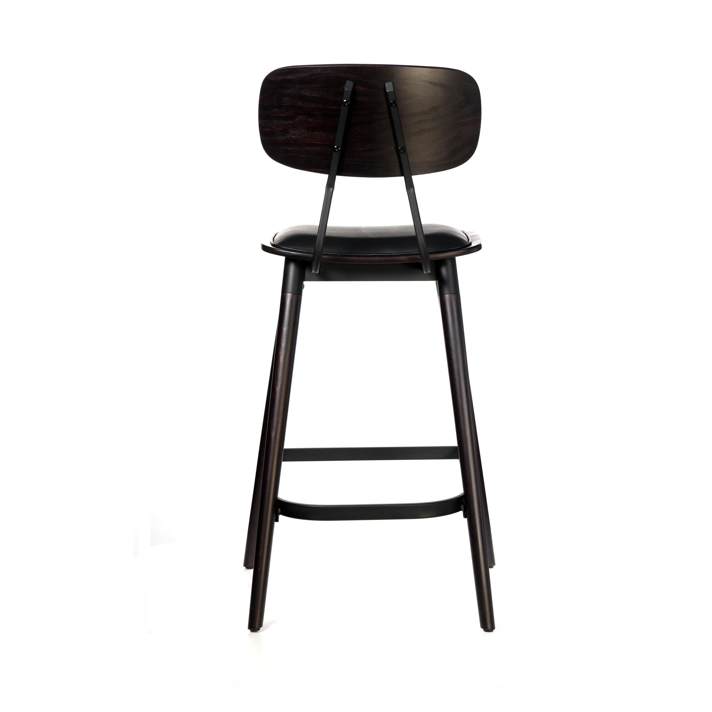 felix barstool – black vinyl seat – chocolate – black frame a5