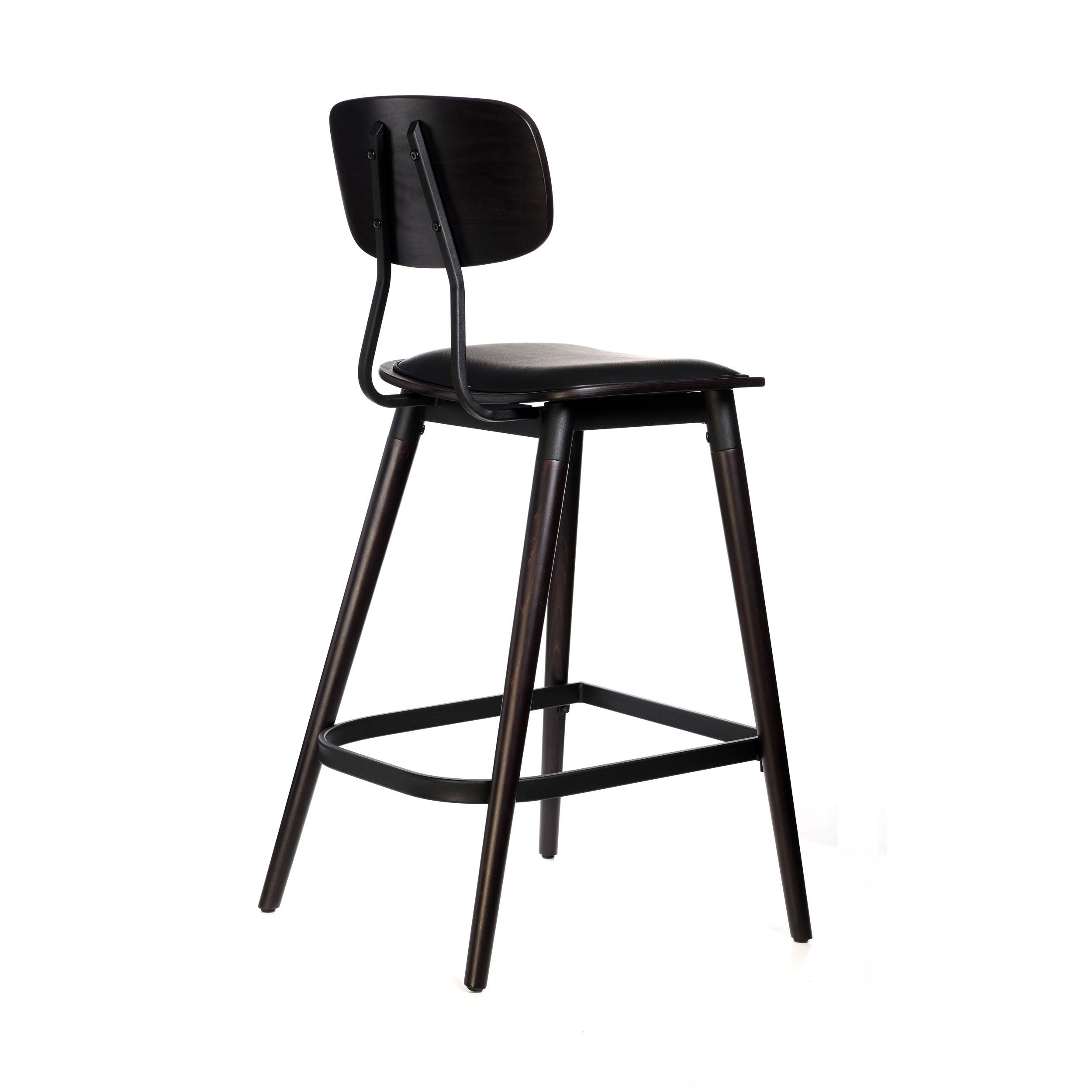 felix barstool – black vinyl seat – chocolate – black frame a6