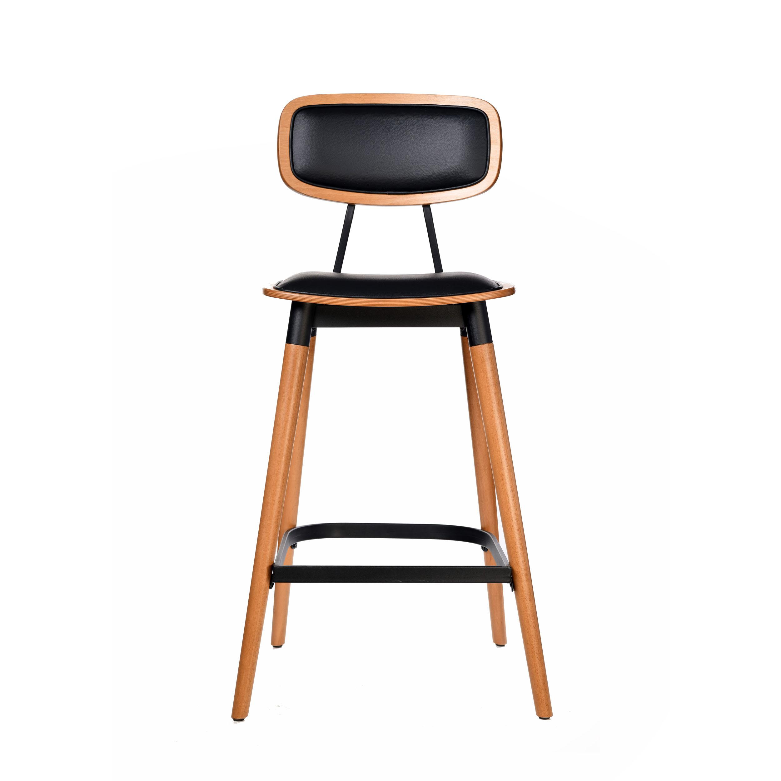felix barstool – black vinyl seat – lancaster oak – black frame c1 1