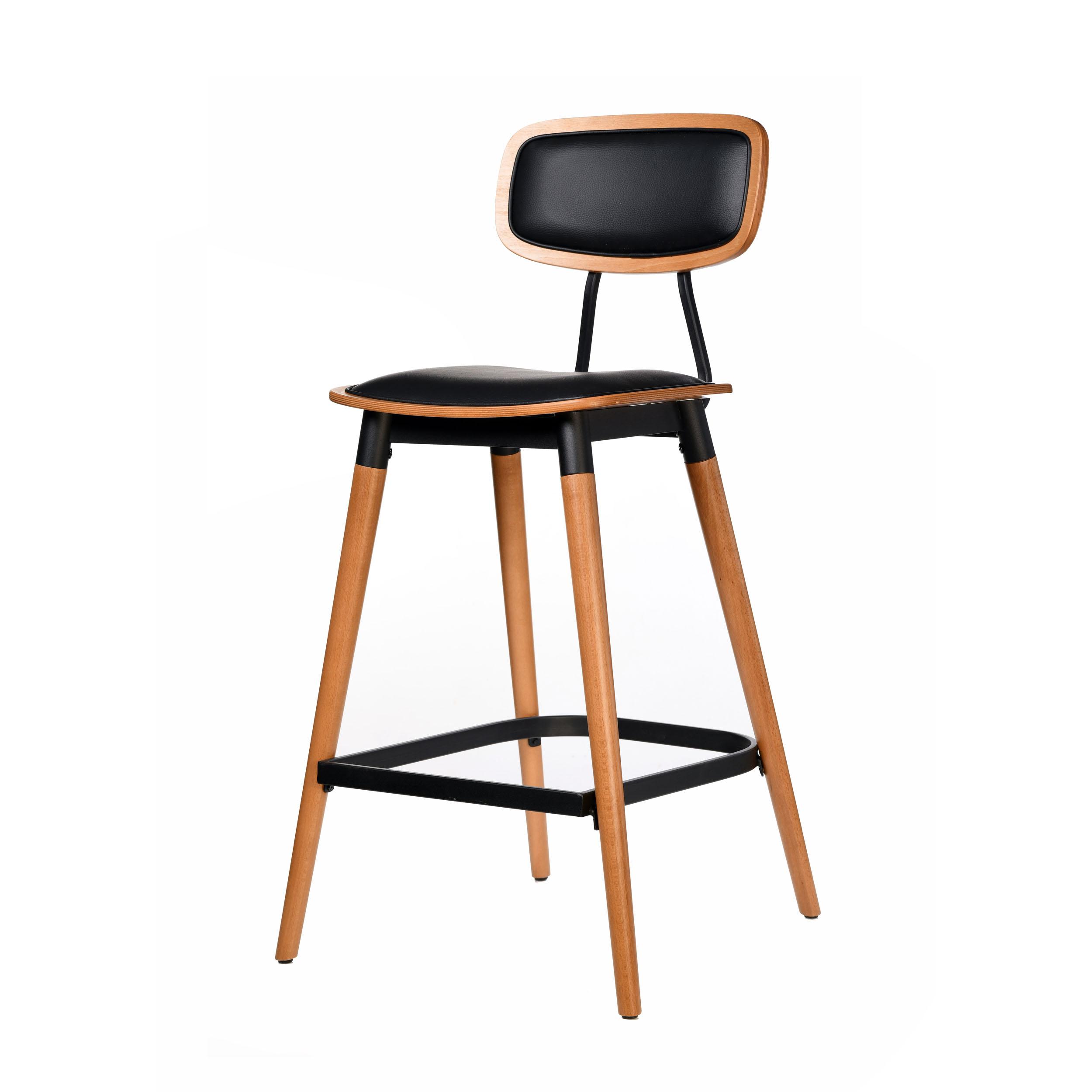 felix barstool – black vinyl seat – lancaster oak – black frame c2