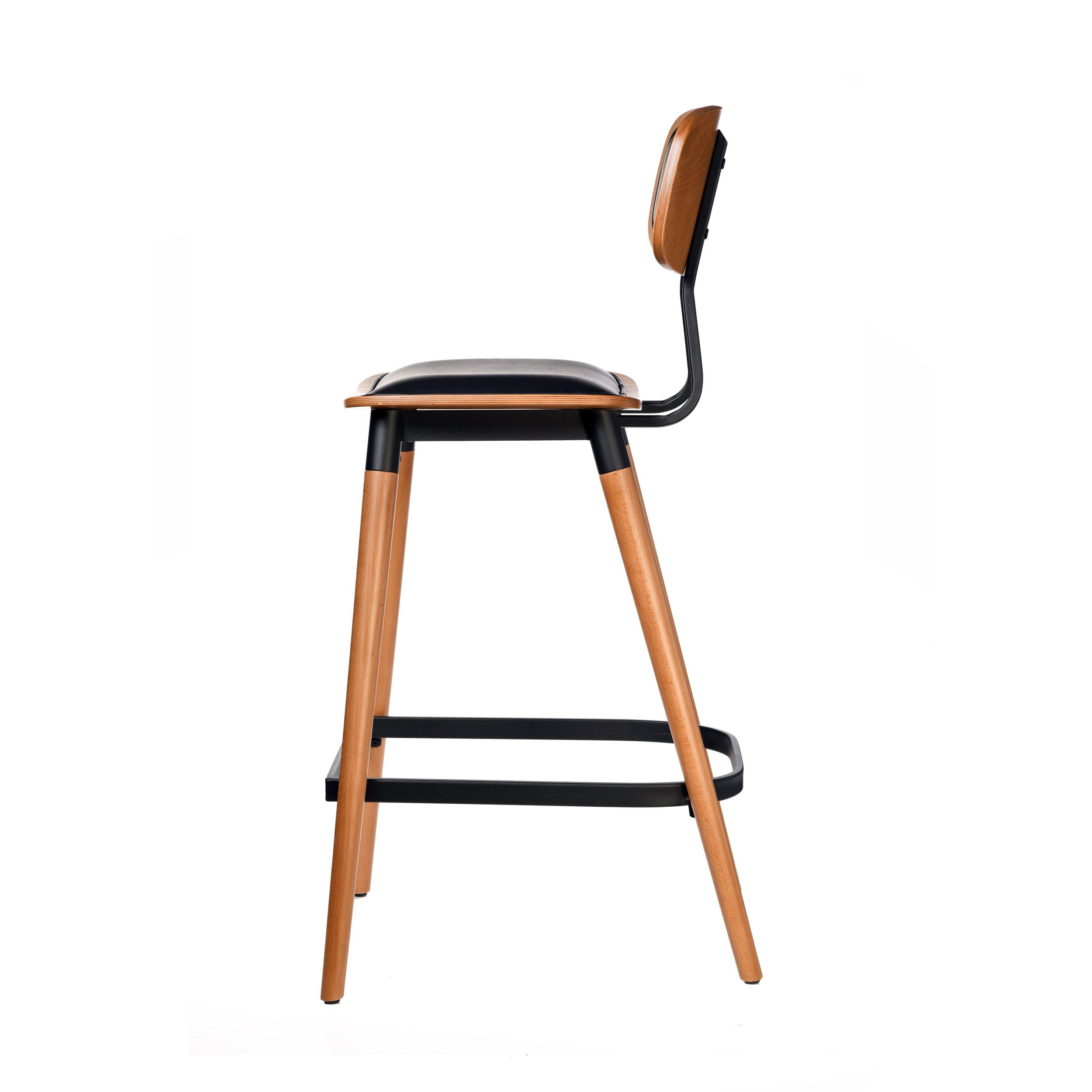 felix barstool – black vinyl seat – lancaster oak – black frame c3