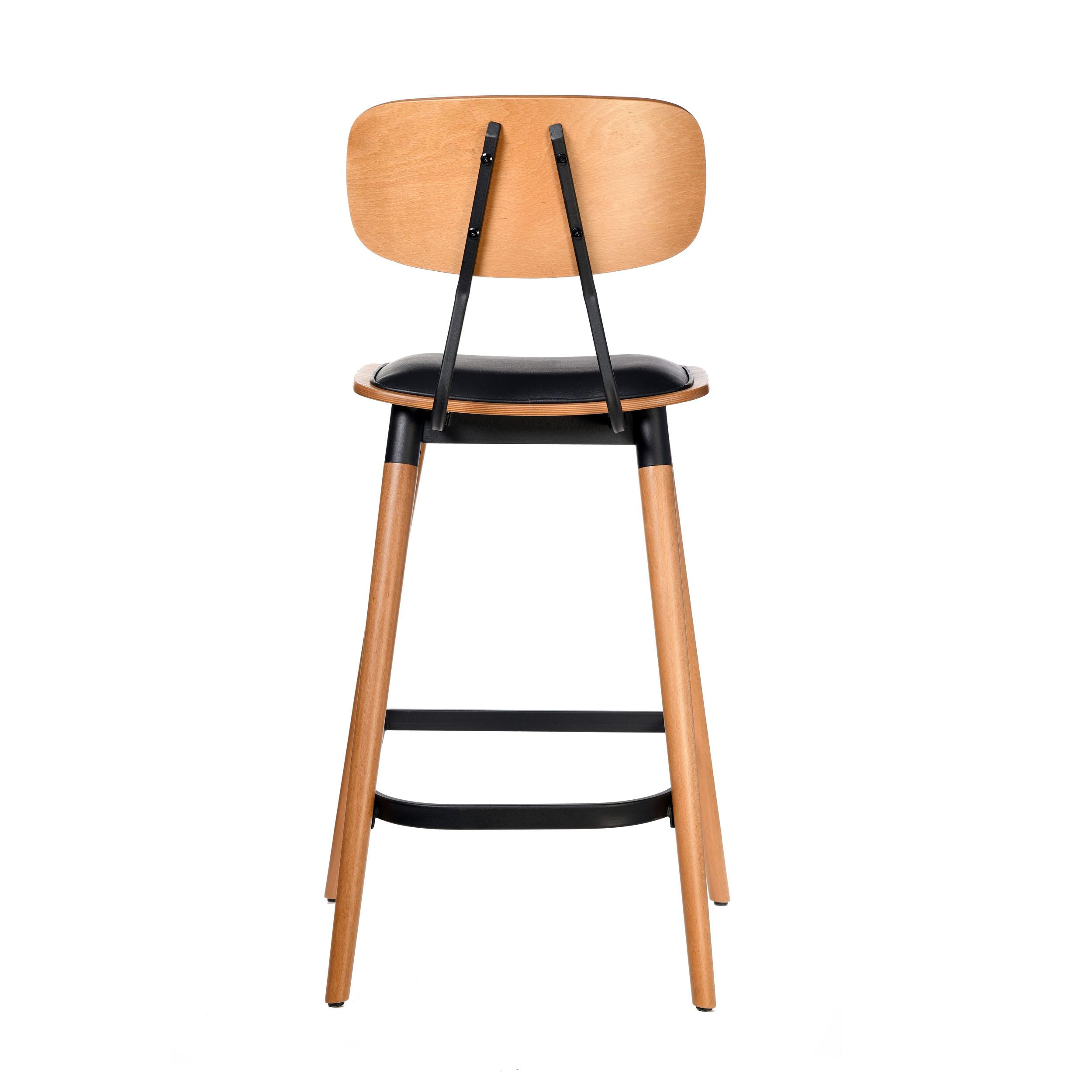 felix barstool – black vinyl seat – lancaster oak – black frame c5