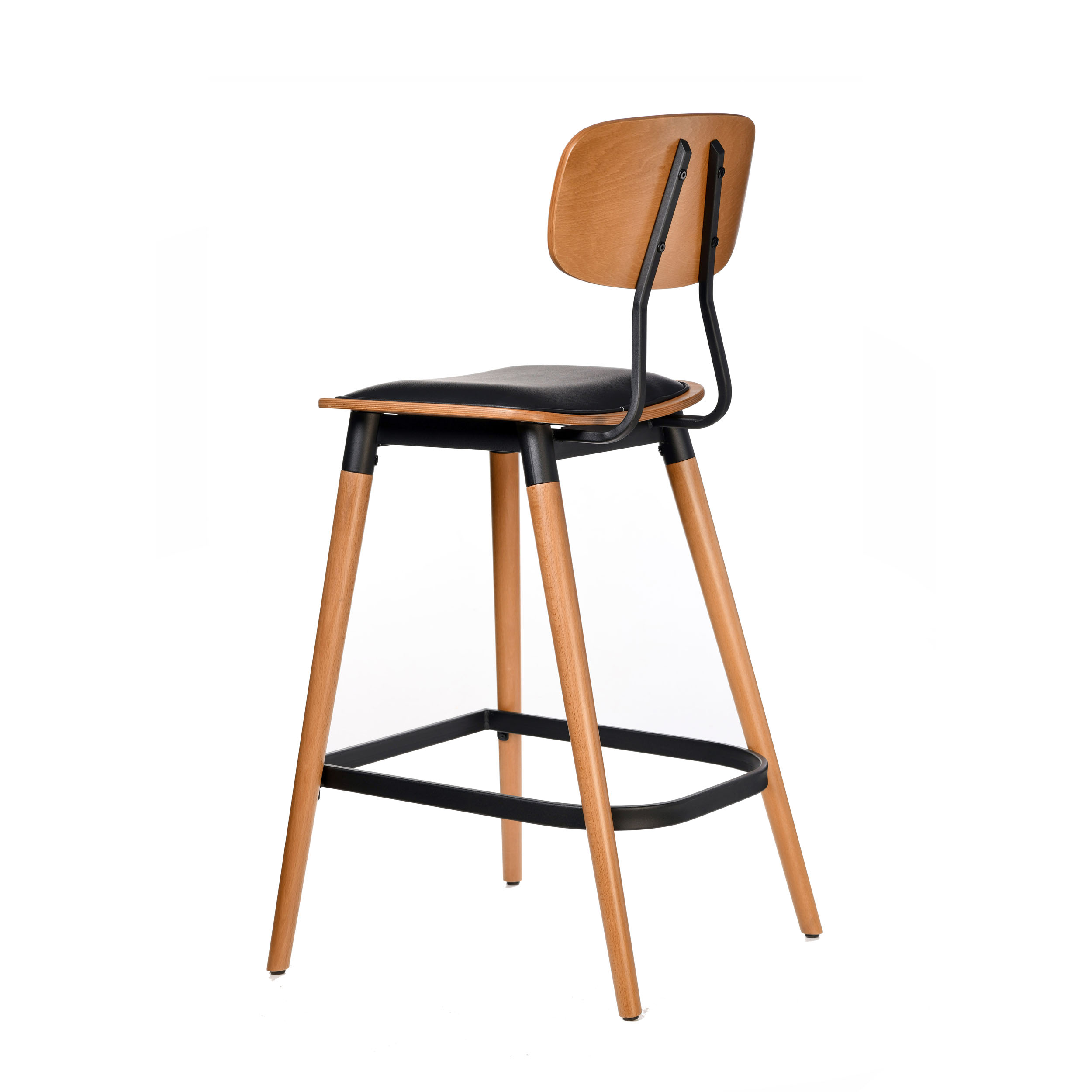 felix barstool – black vinyl seat – lancaster oak – black frame c6