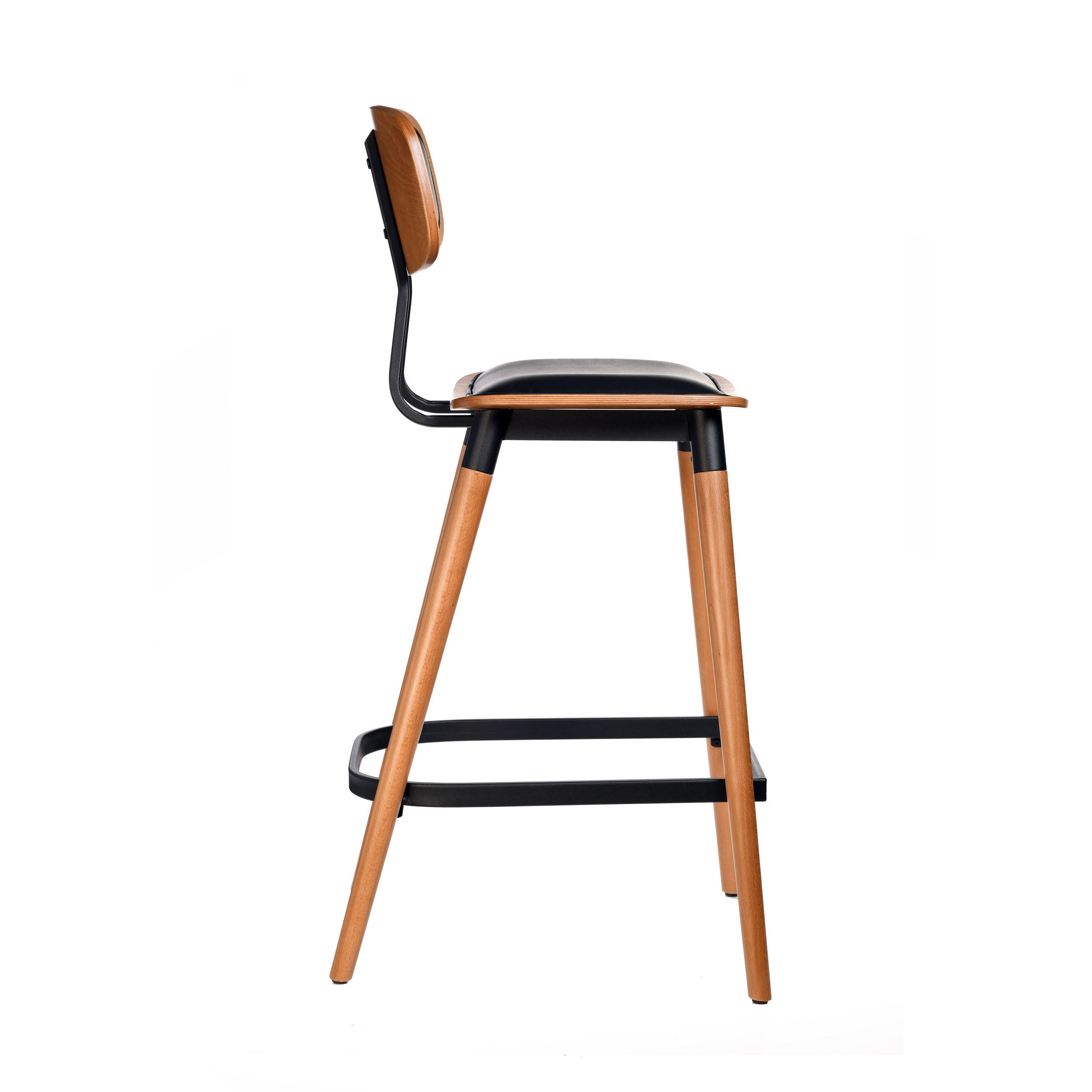 felix barstool – black vinyl seat – lancaster oak – black frame c7