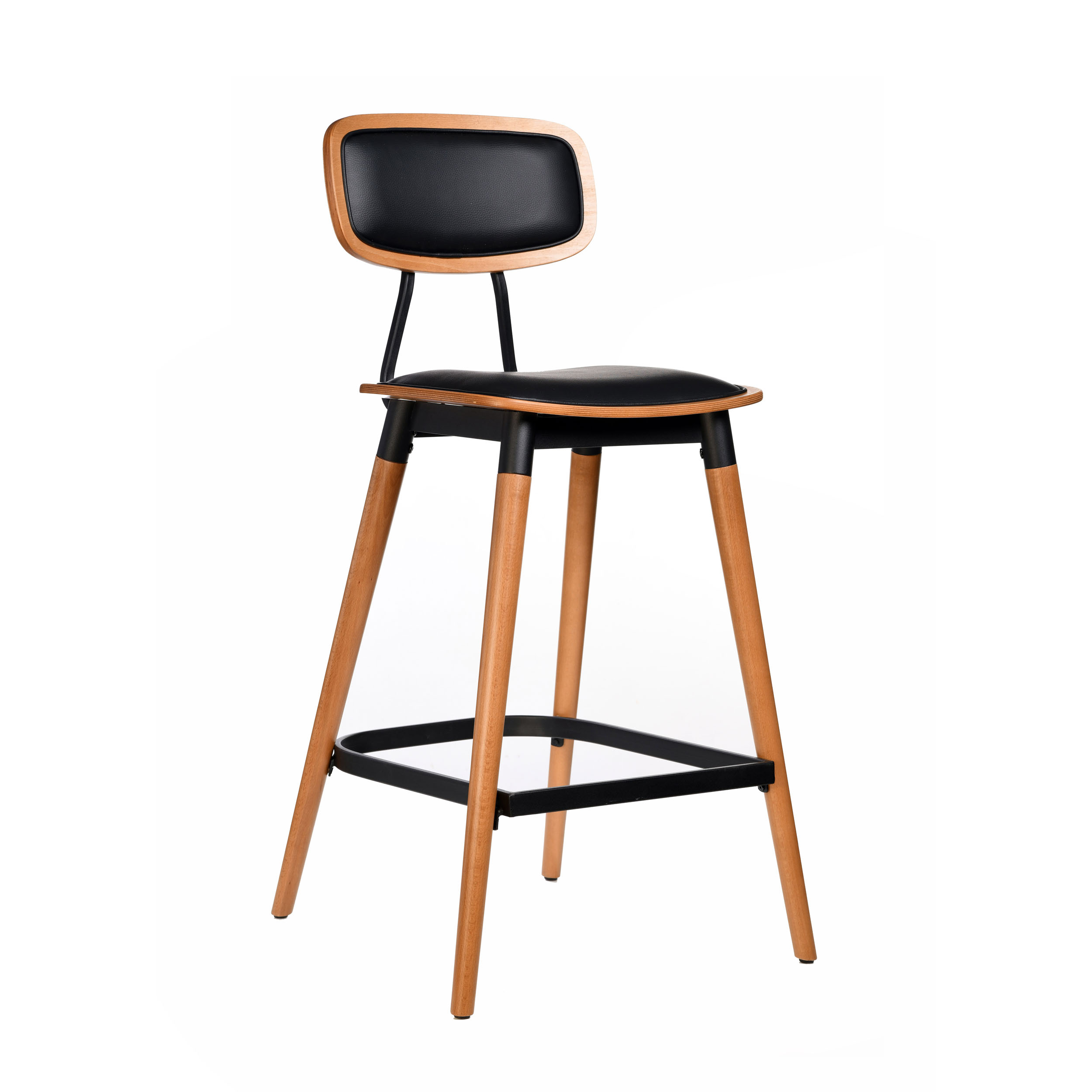 felix barstool – black vinyl seat – lancaster oak – black frame c8 1