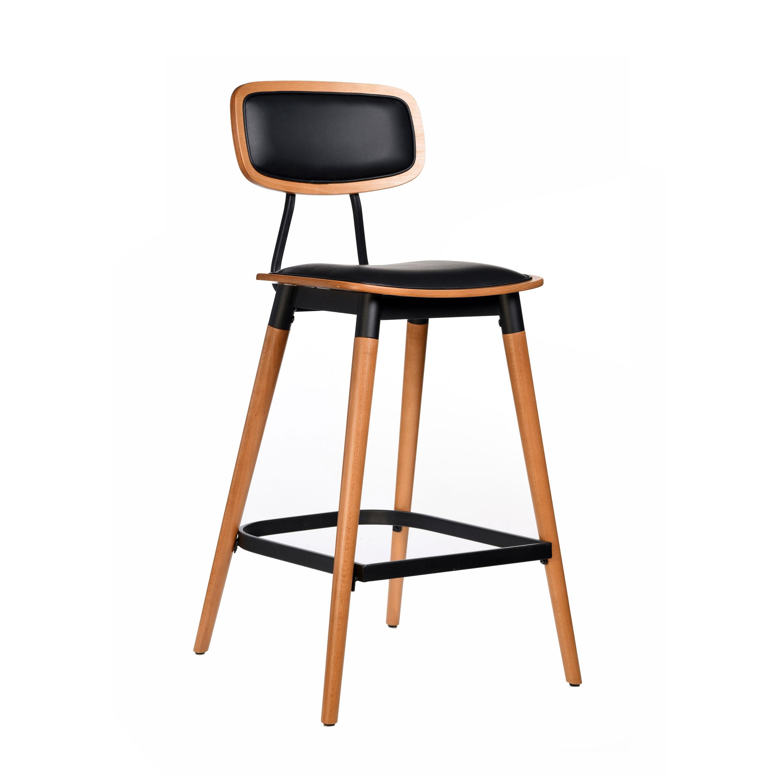 felix barstool – black vinyl seat – lancaster oak – black frame c8