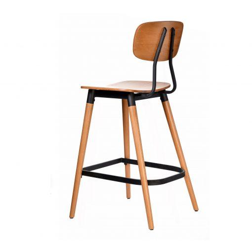 felix barstool – ply seat – lancaster oak – black frame b4