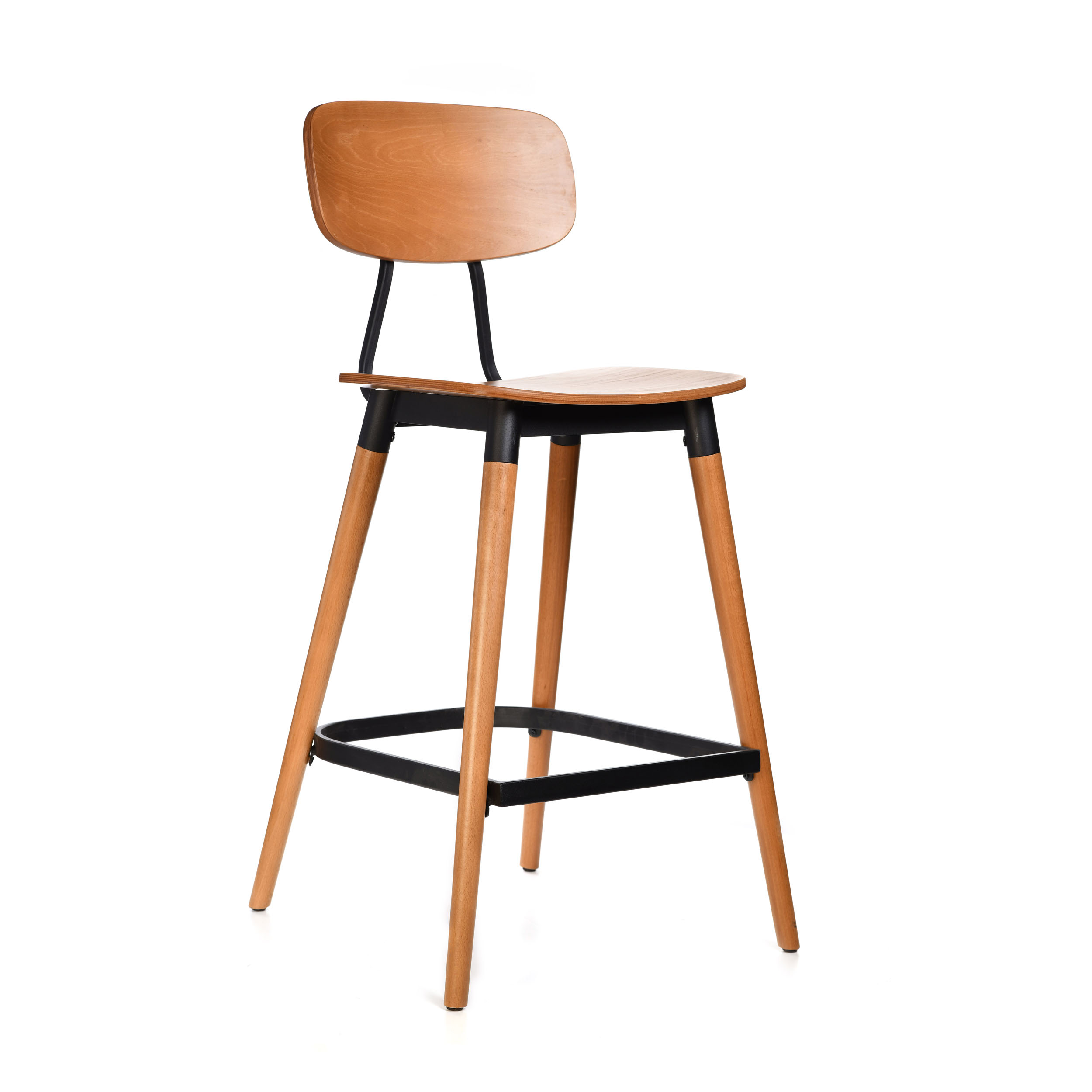 felix barstool – ply seat – lancaster oak – black frame b8