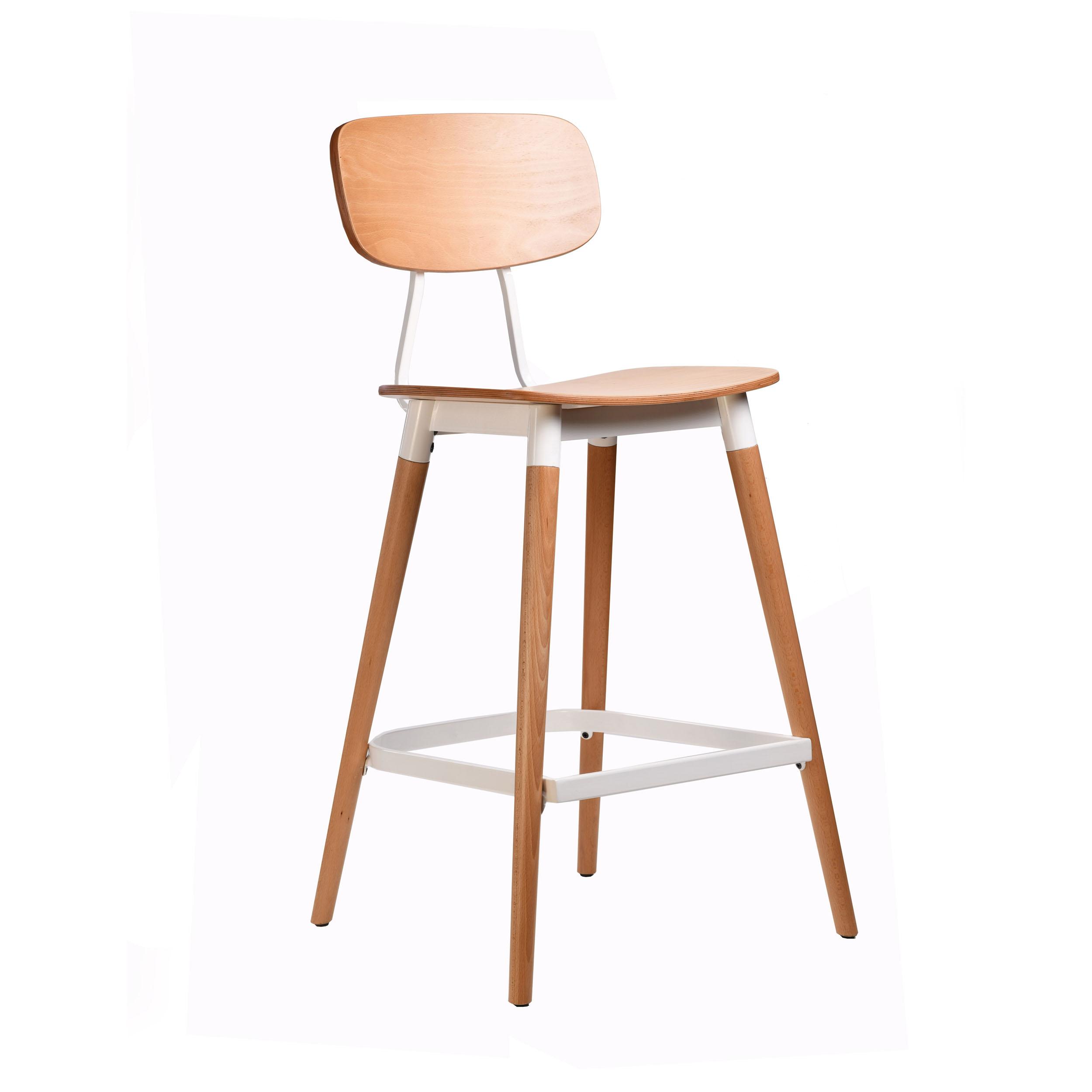 felix barstool – ply seat – natural – white frame p8