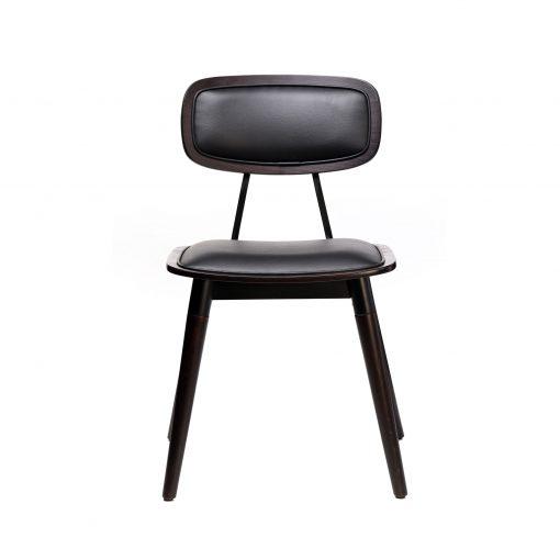 felix chair – black vinyl seat – chocolate – black frame f1 1